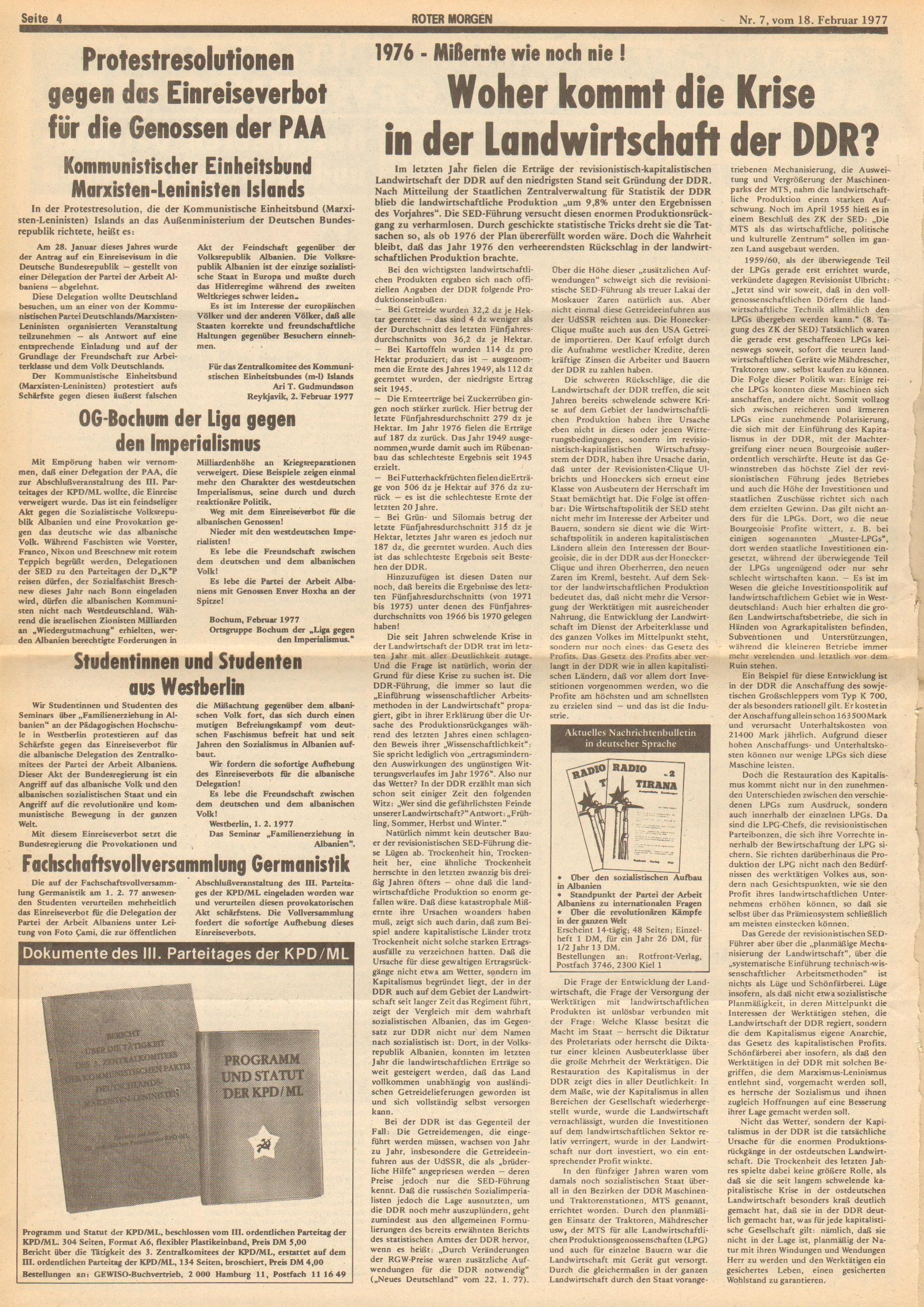 Roter Morgen, 11. Jg., 18. Februar 1977, Nr. 7, Seite 4