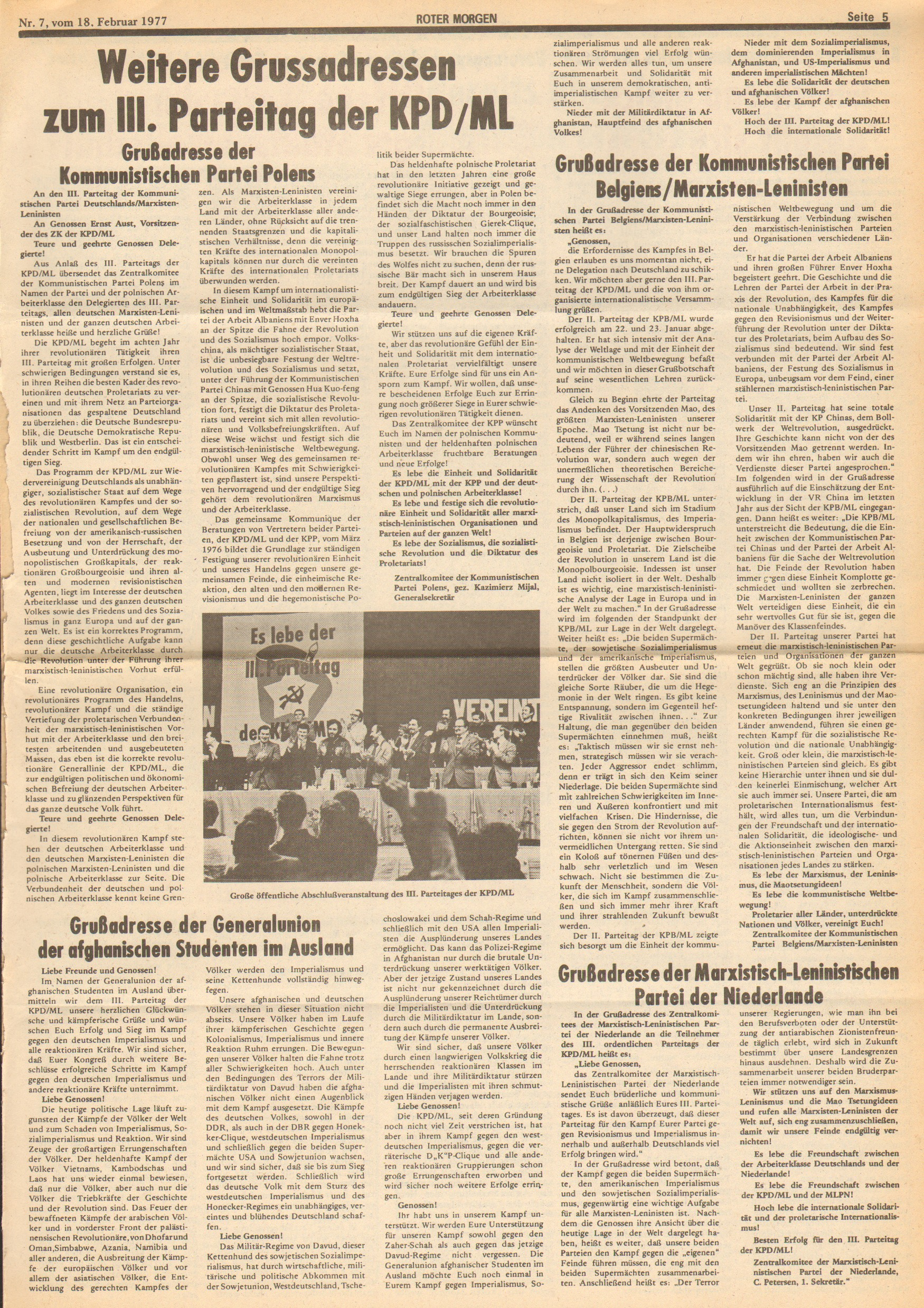 Roter Morgen, 11. Jg., 18. Februar 1977, Nr. 7, Seite 5