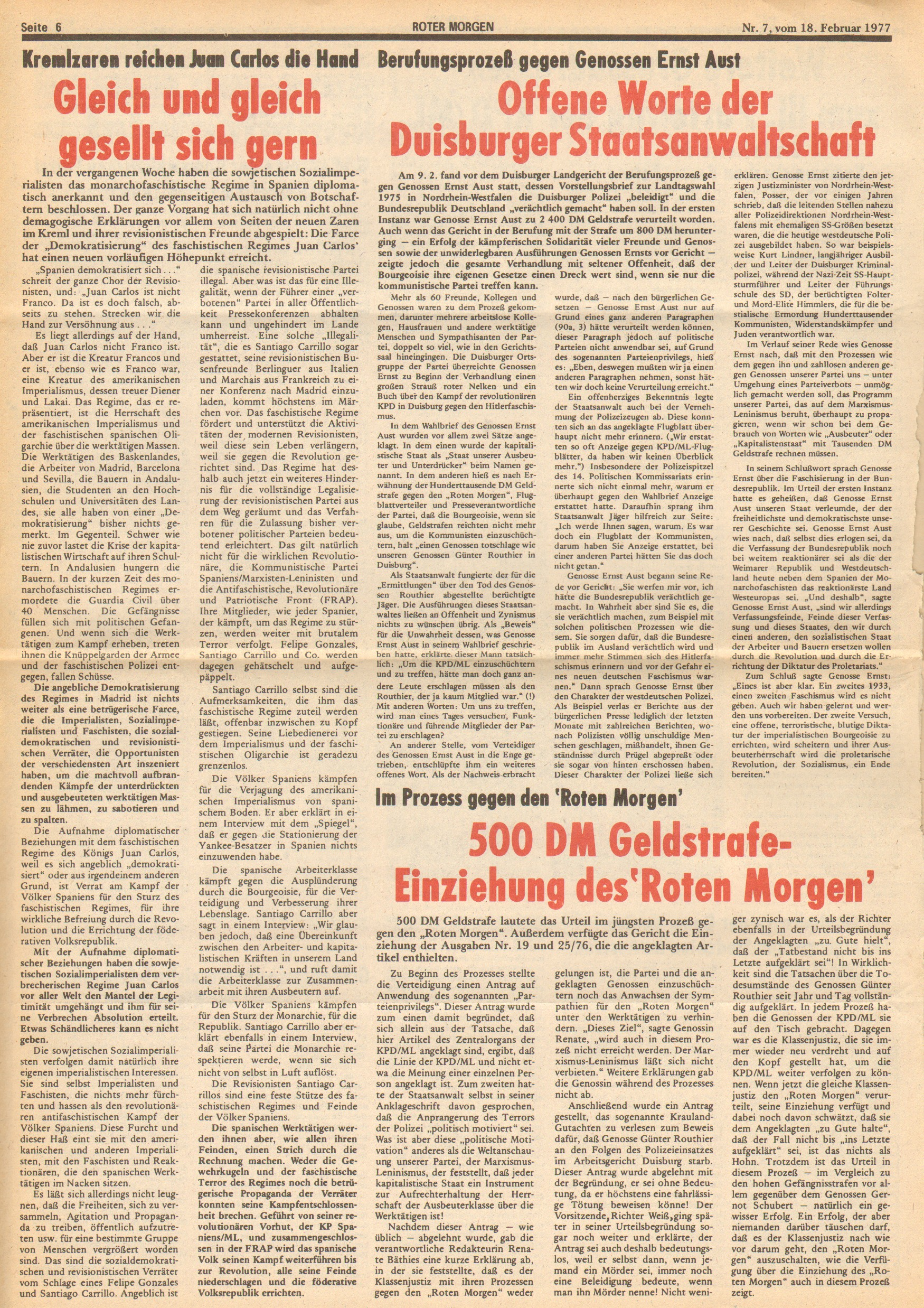 Roter Morgen, 11. Jg., 18. Februar 1977, Nr. 7, Seite 6