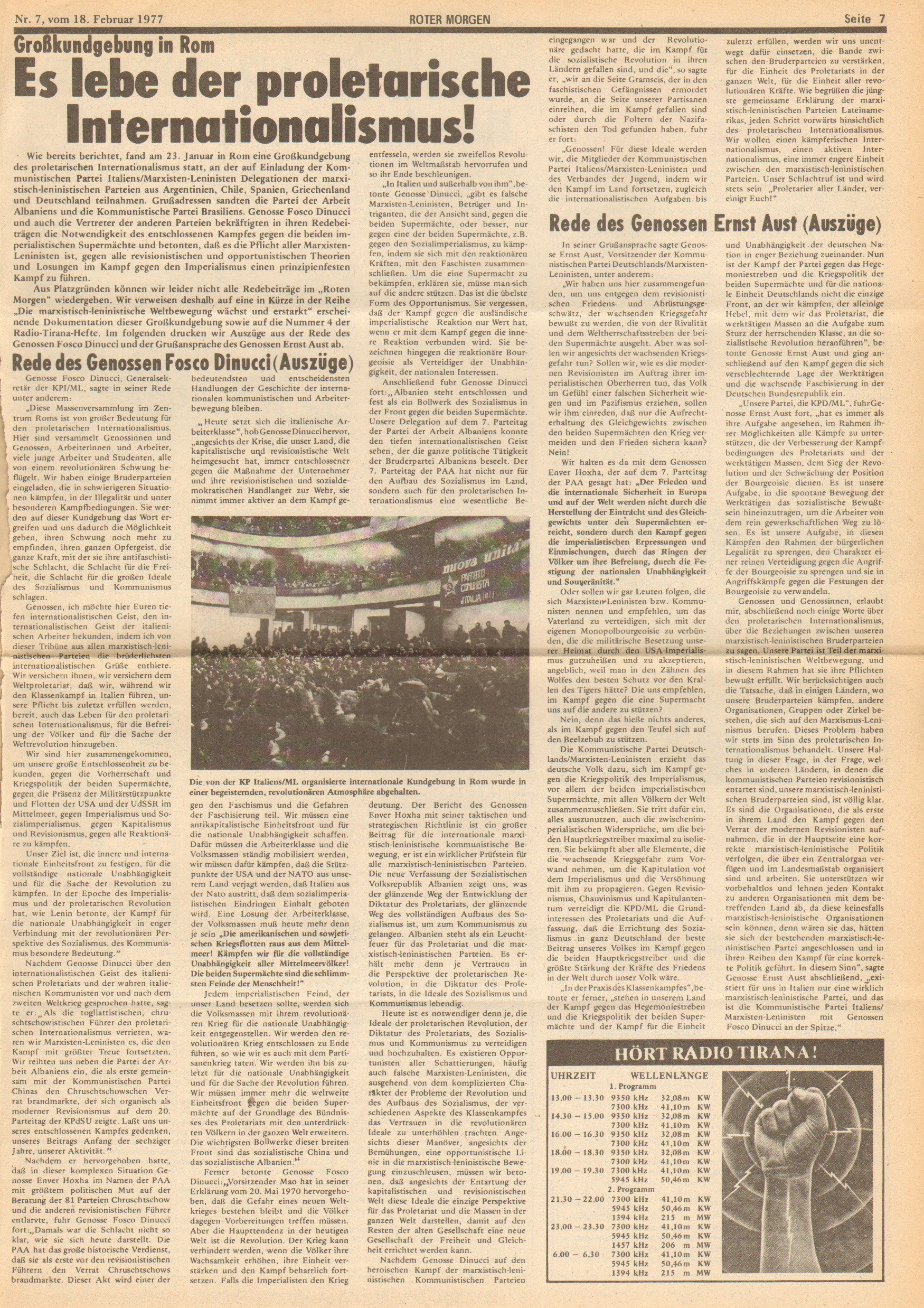 Roter Morgen, 11. Jg., 18. Februar 1977, Nr. 7, Seite 7