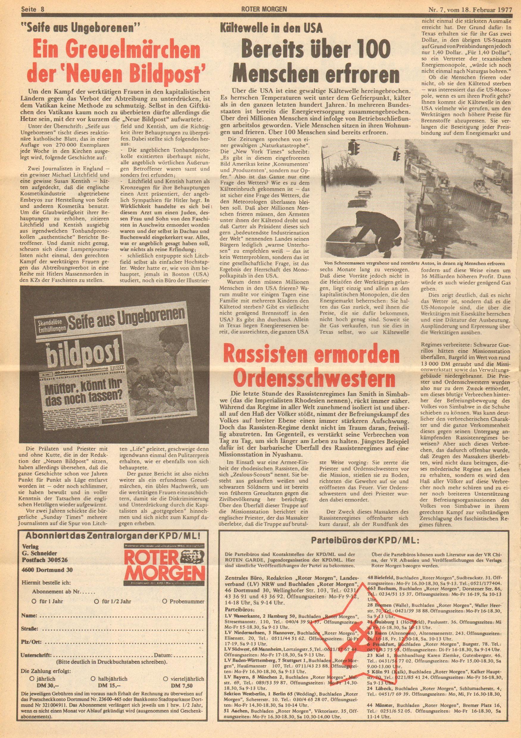 Roter Morgen, 11. Jg., 18. Februar 1977, Nr. 7, Seite 8
