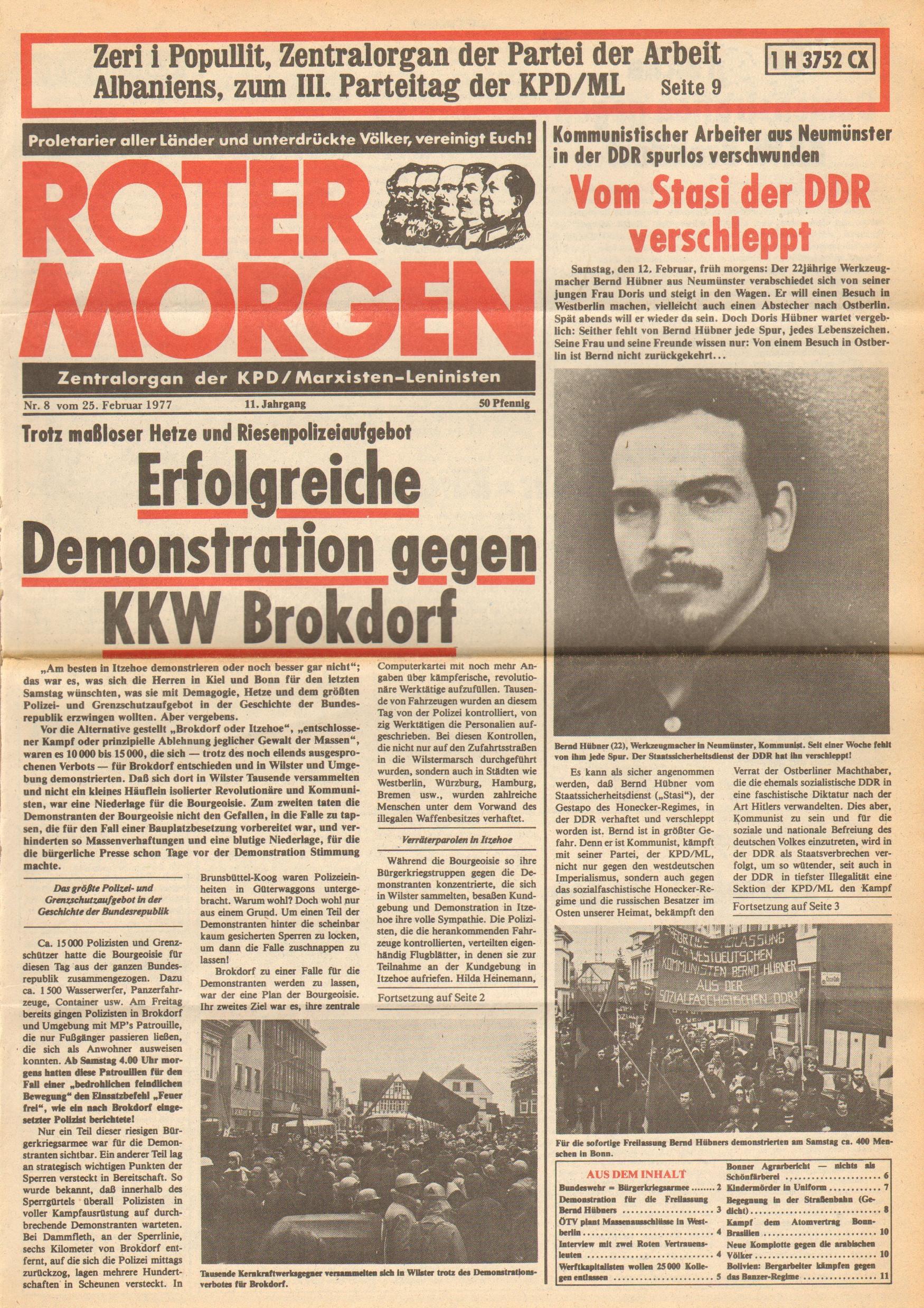 Roter Morgen, 11. Jg.,25. Februar 1977, Nr. 8, Seite 1