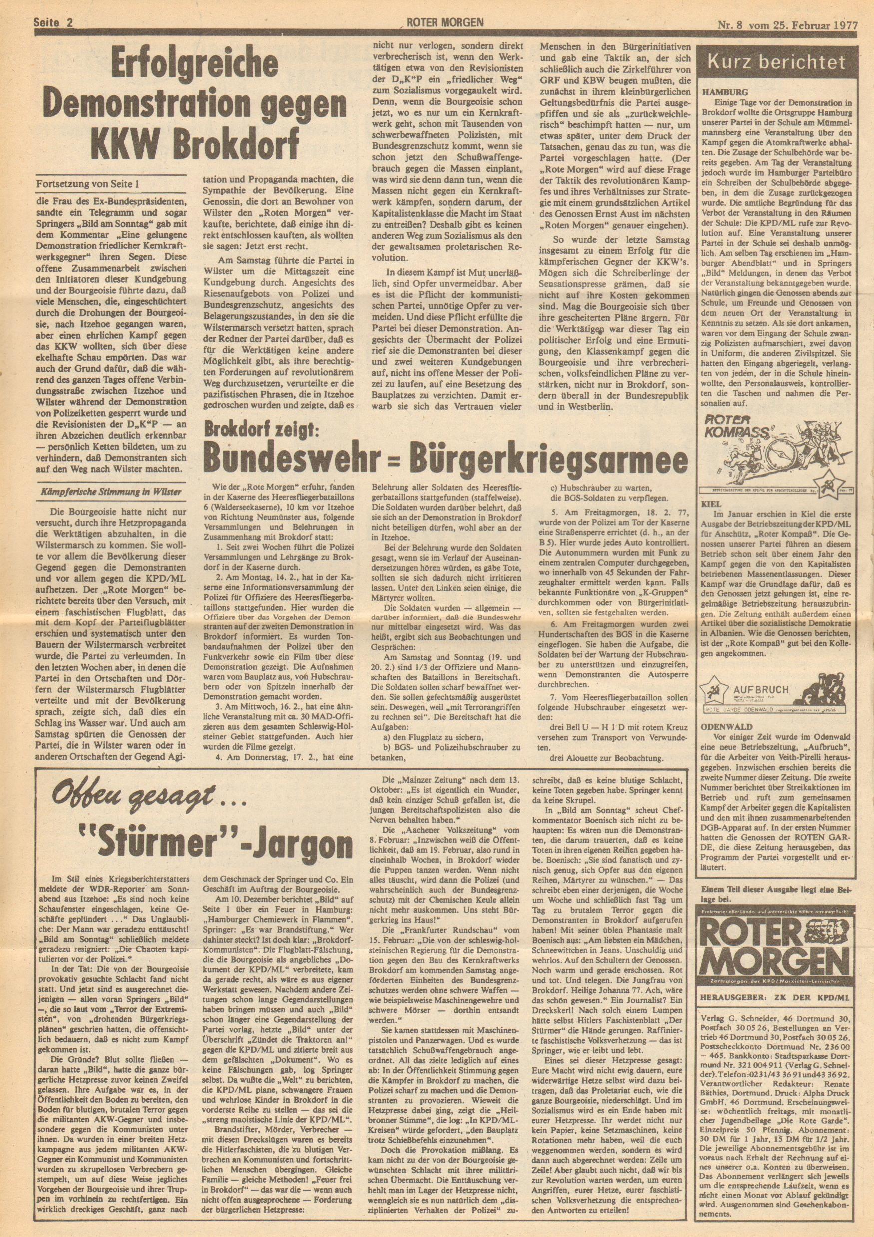Roter Morgen, 11. Jg.,25. Februar 1977, Nr. 8, Seite 2