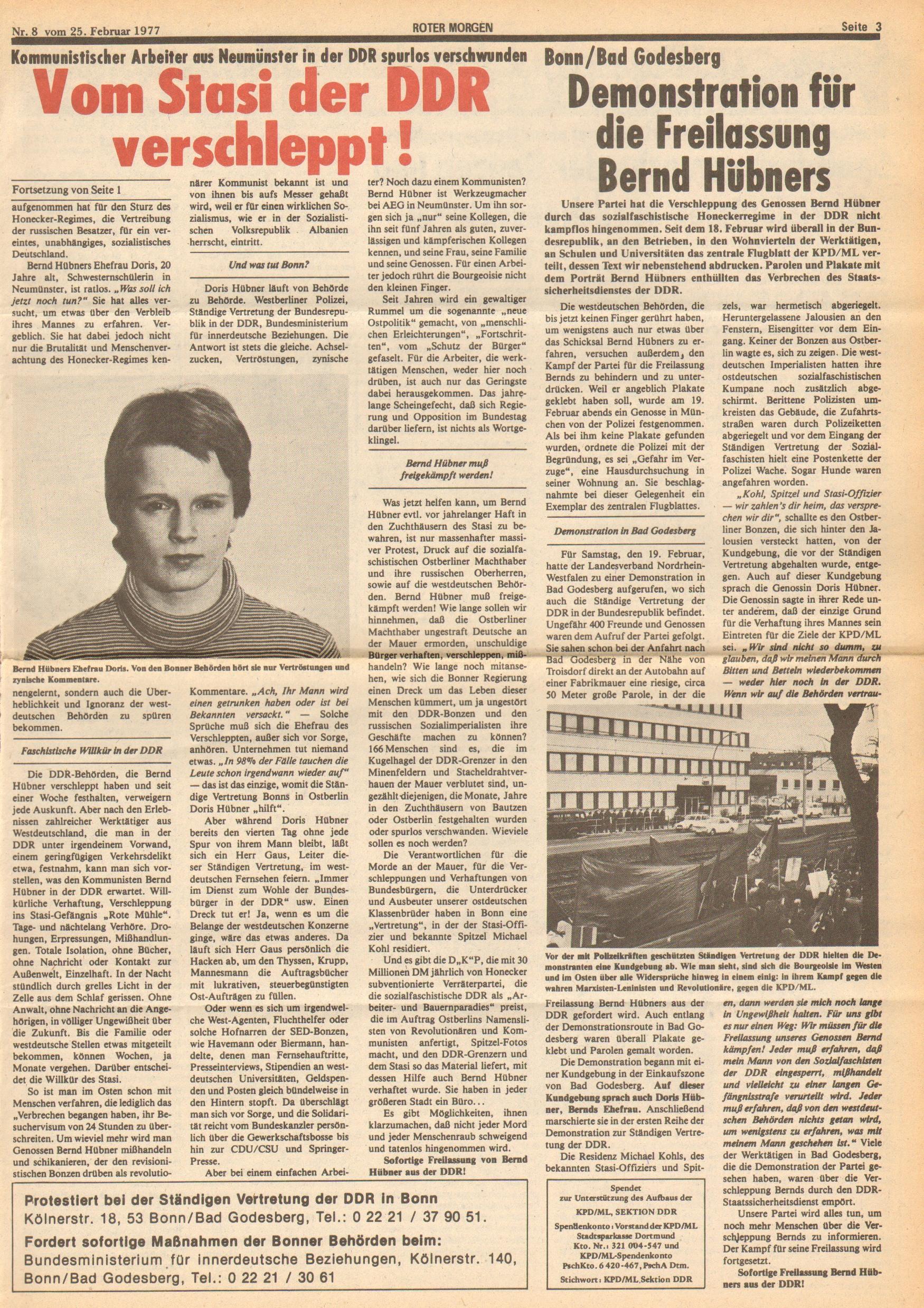 Roter Morgen, 11. Jg.,25. Februar 1977, Nr. 8, Seite 3