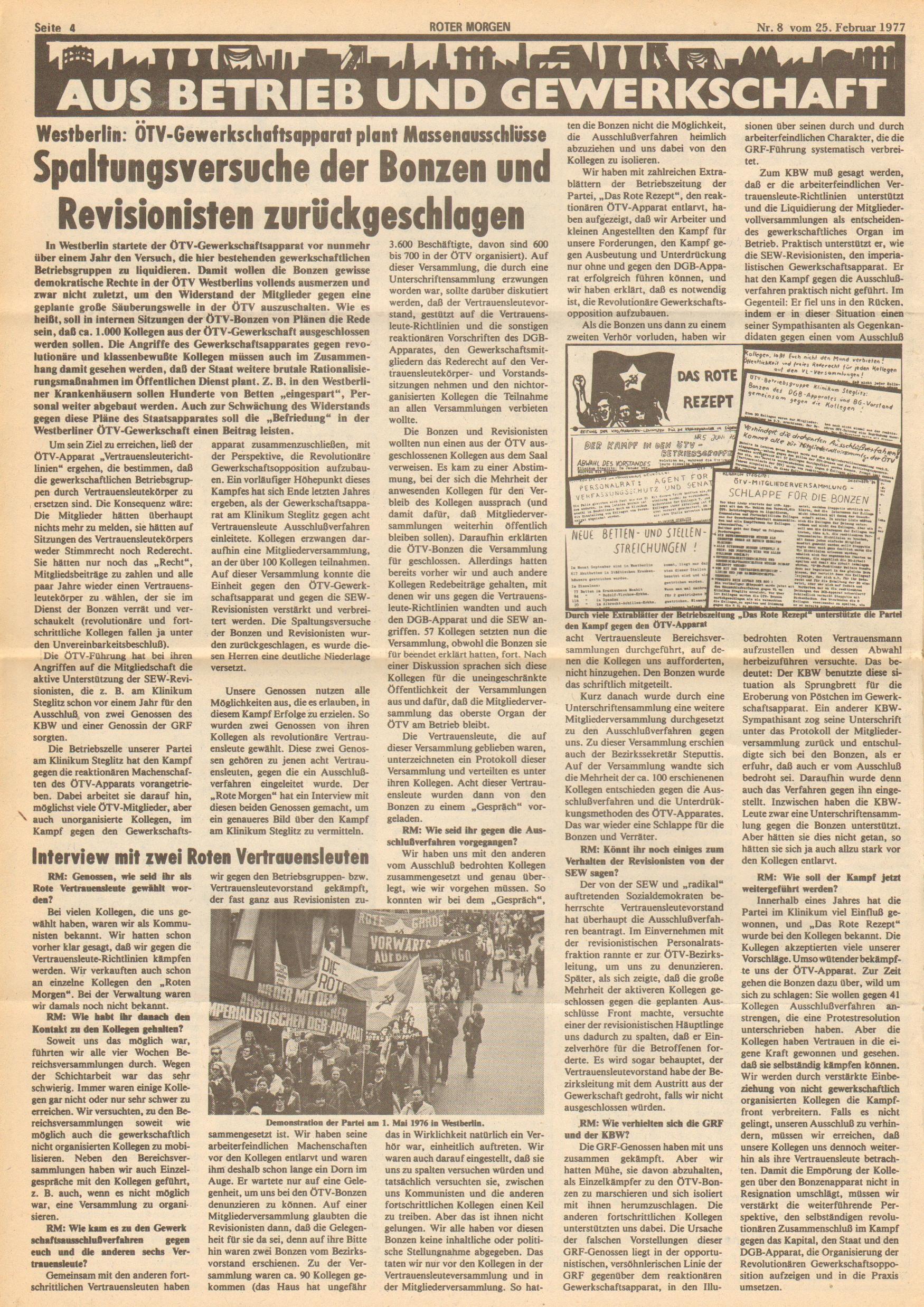 Roter Morgen, 11. Jg.,25. Februar 1977, Nr. 8, Seite 4