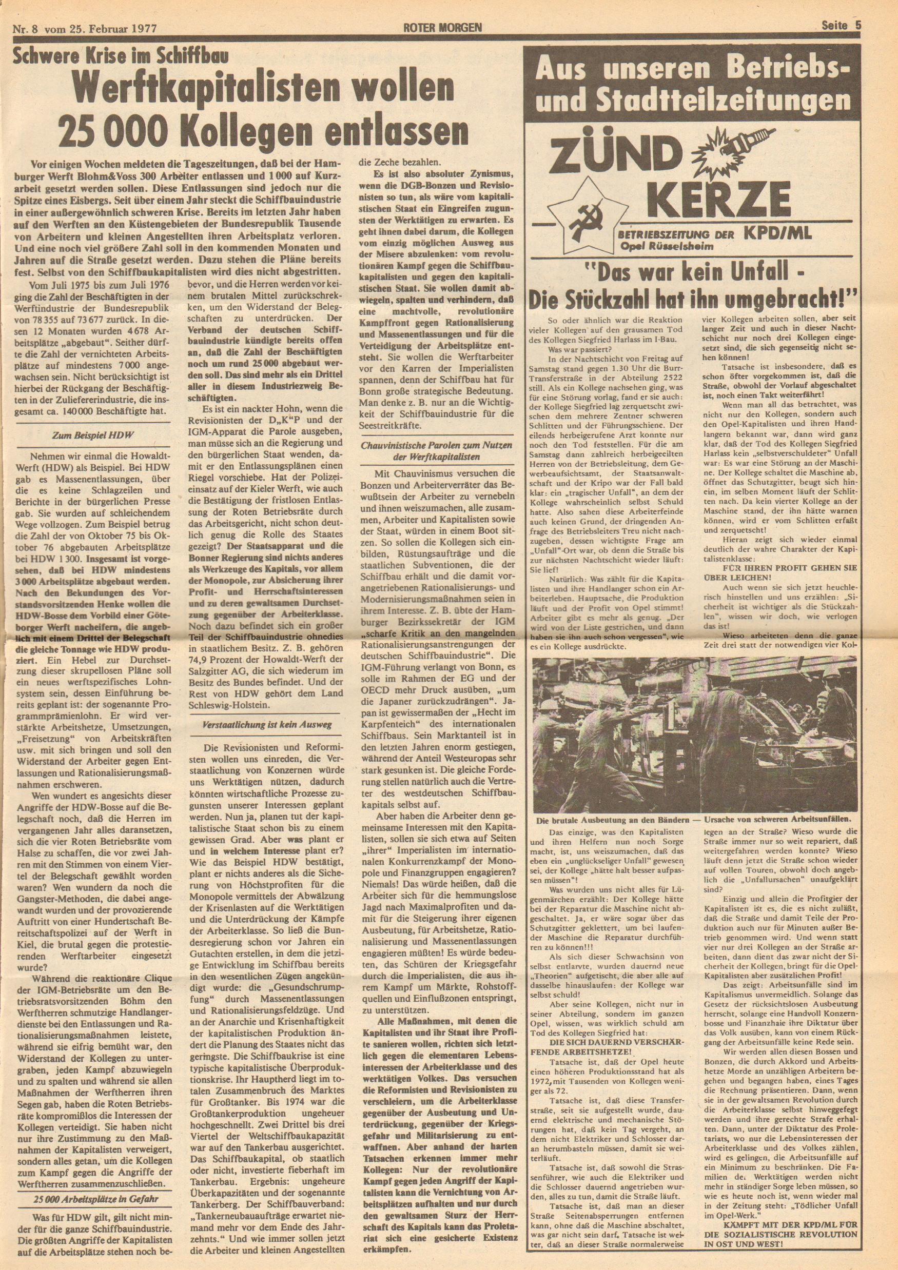 Roter Morgen, 11. Jg.,25. Februar 1977, Nr. 8, Seite 5