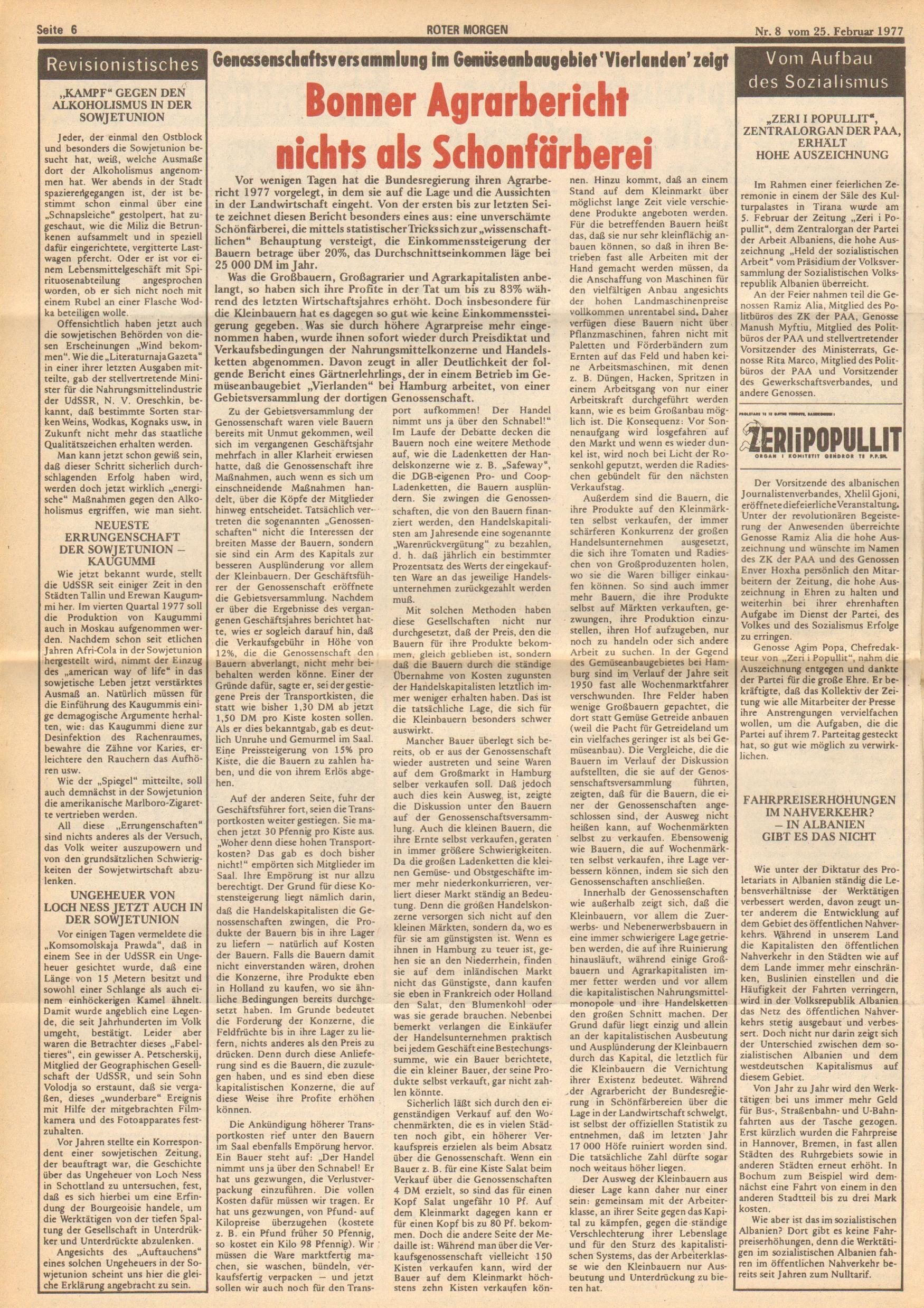 Roter Morgen, 11. Jg.,25. Februar 1977, Nr. 8, Seite 6