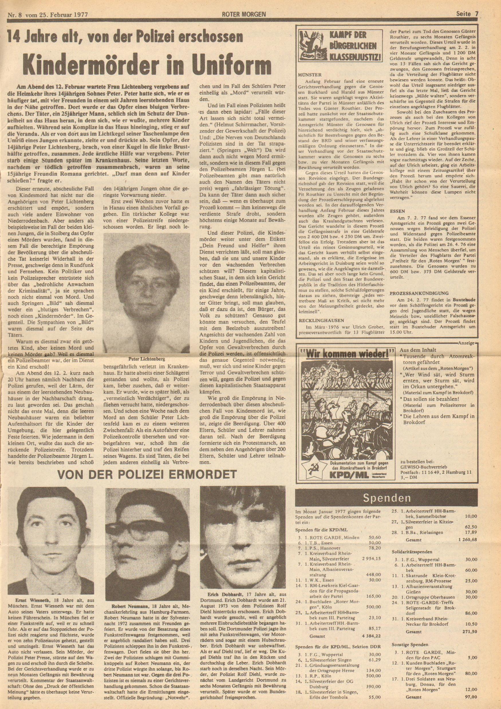 Roter Morgen, 11. Jg.,25. Februar 1977, Nr. 8, Seite 7