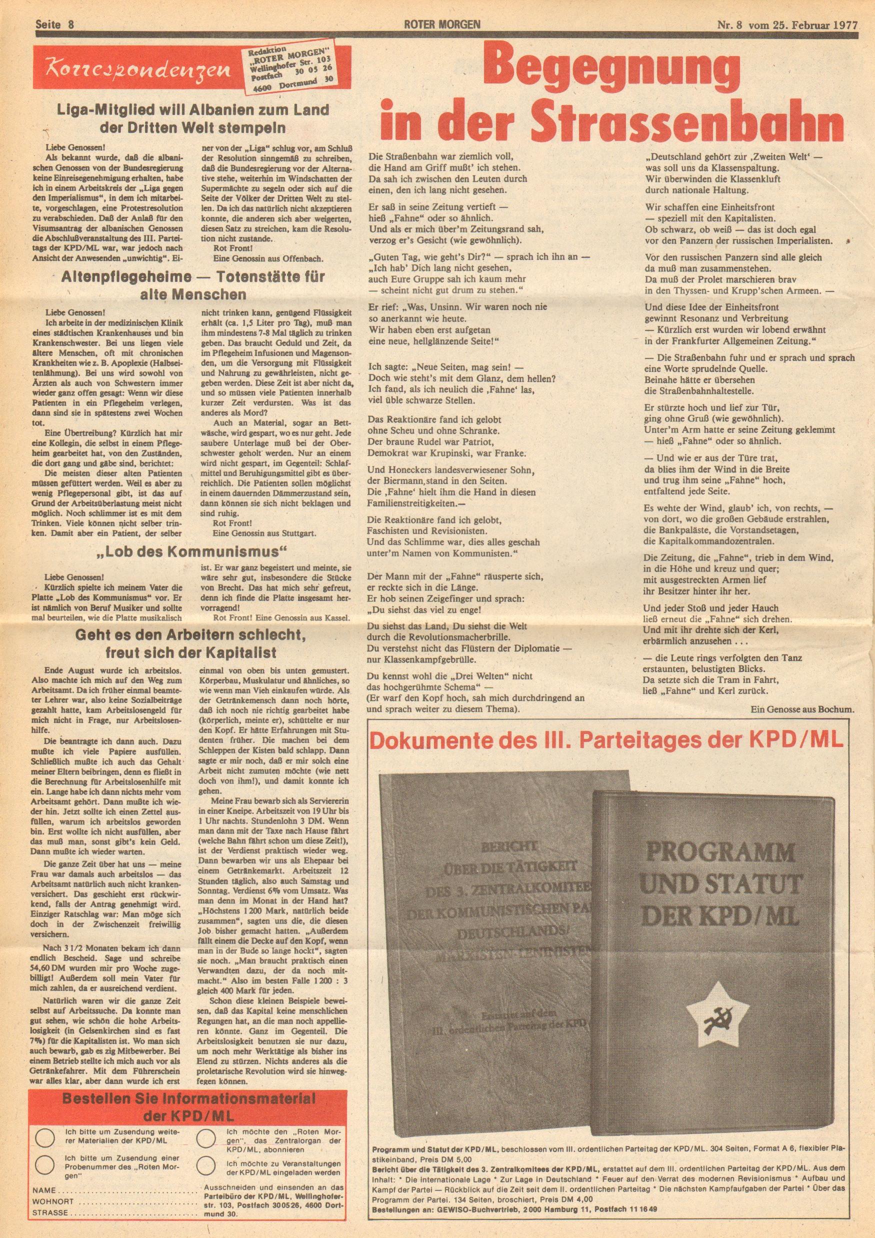 Roter Morgen, 11. Jg.,25. Februar 1977, Nr. 8, Seite 8