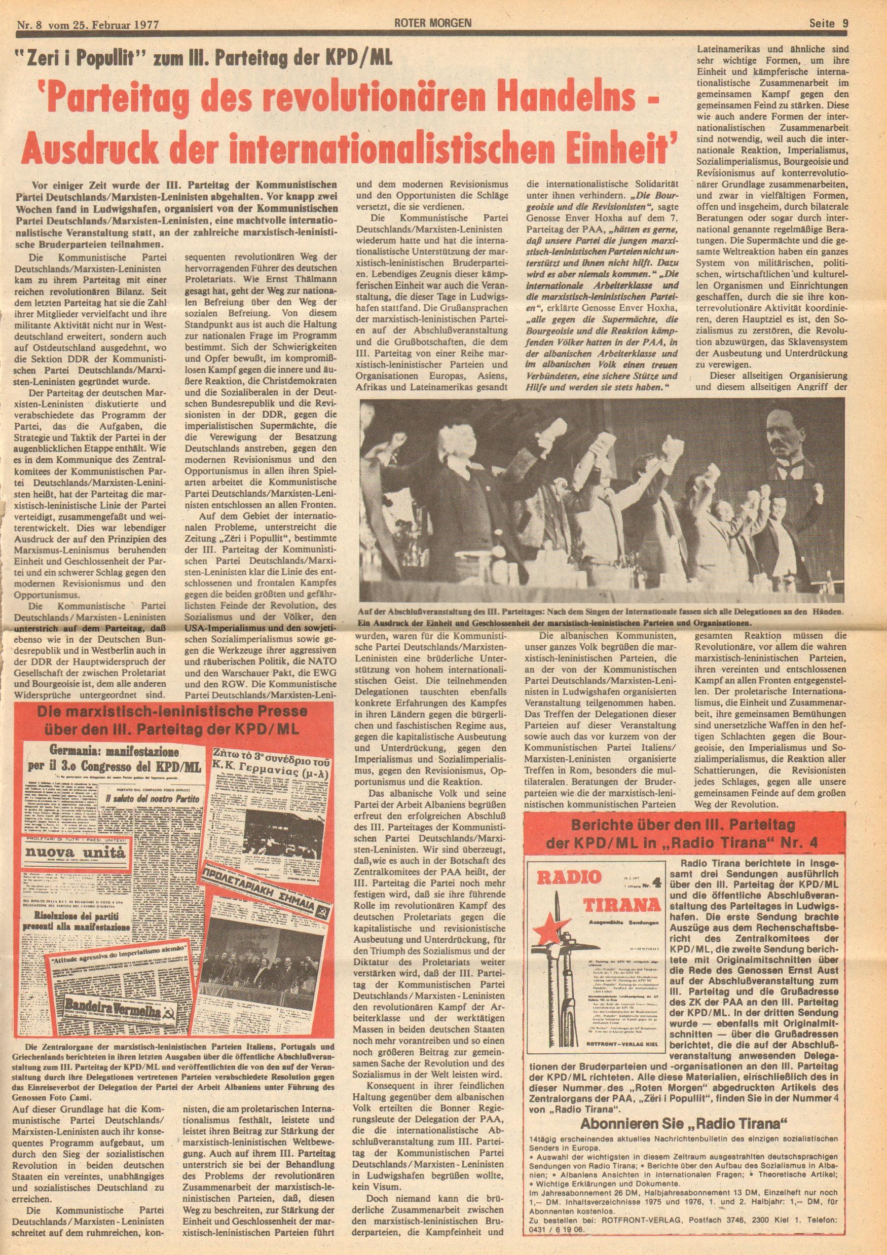 Roter Morgen, 11. Jg.,25. Februar 1977, Nr. 8, Seite 9