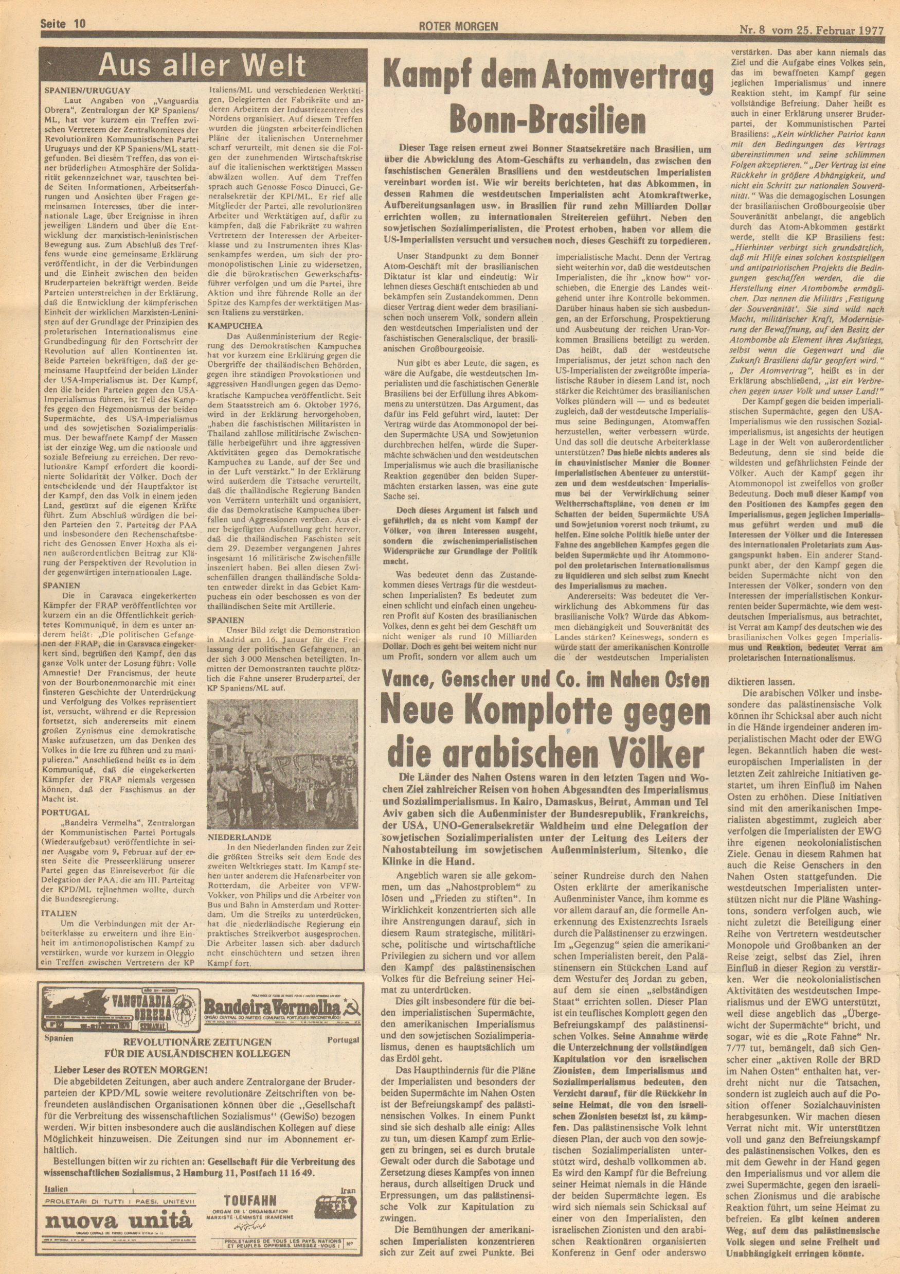 Roter Morgen, 11. Jg.,25. Februar 1977, Nr. 8, Seite 10