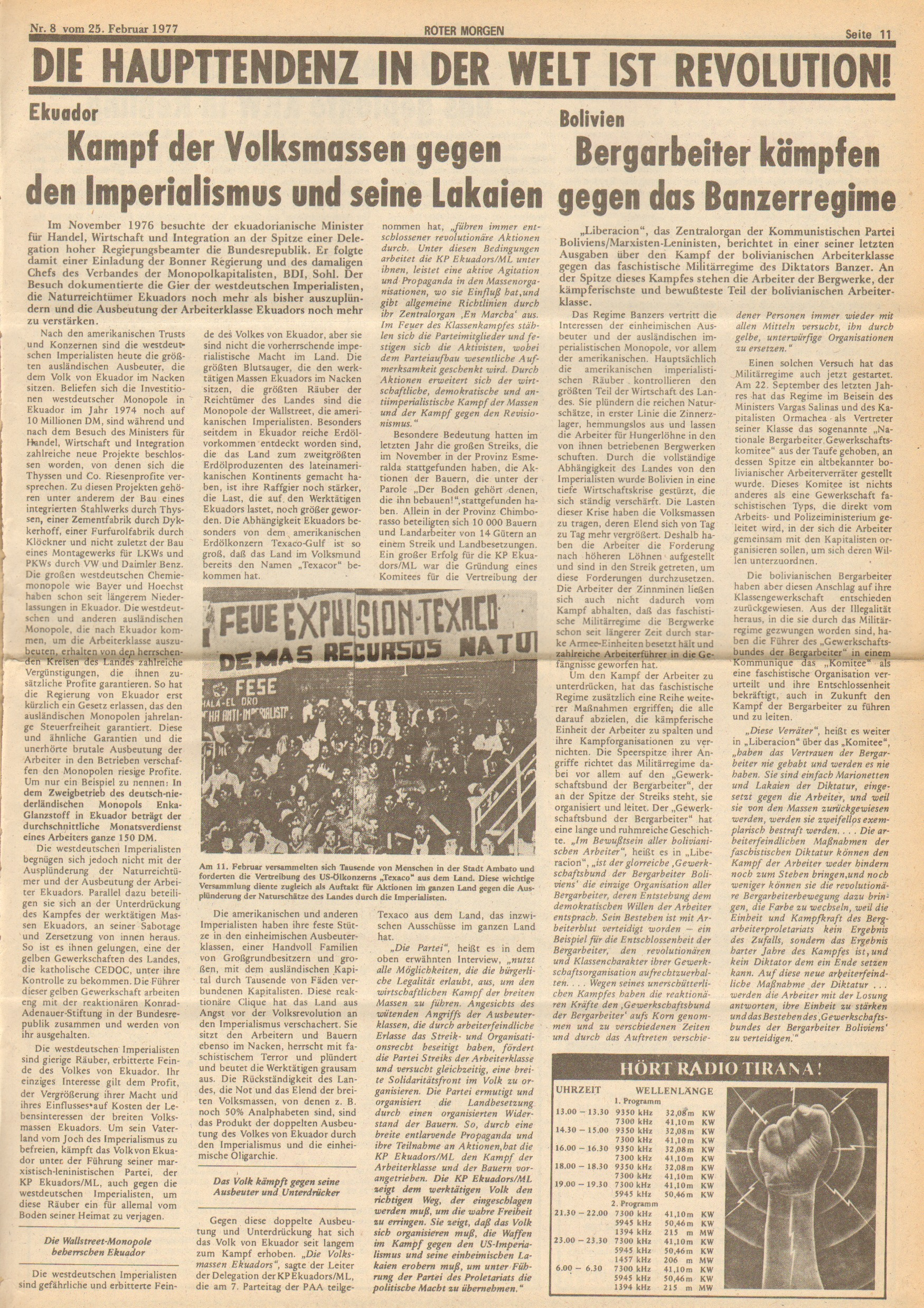Roter Morgen, 11. Jg.,25. Februar 1977, Nr. 8, Seite 11