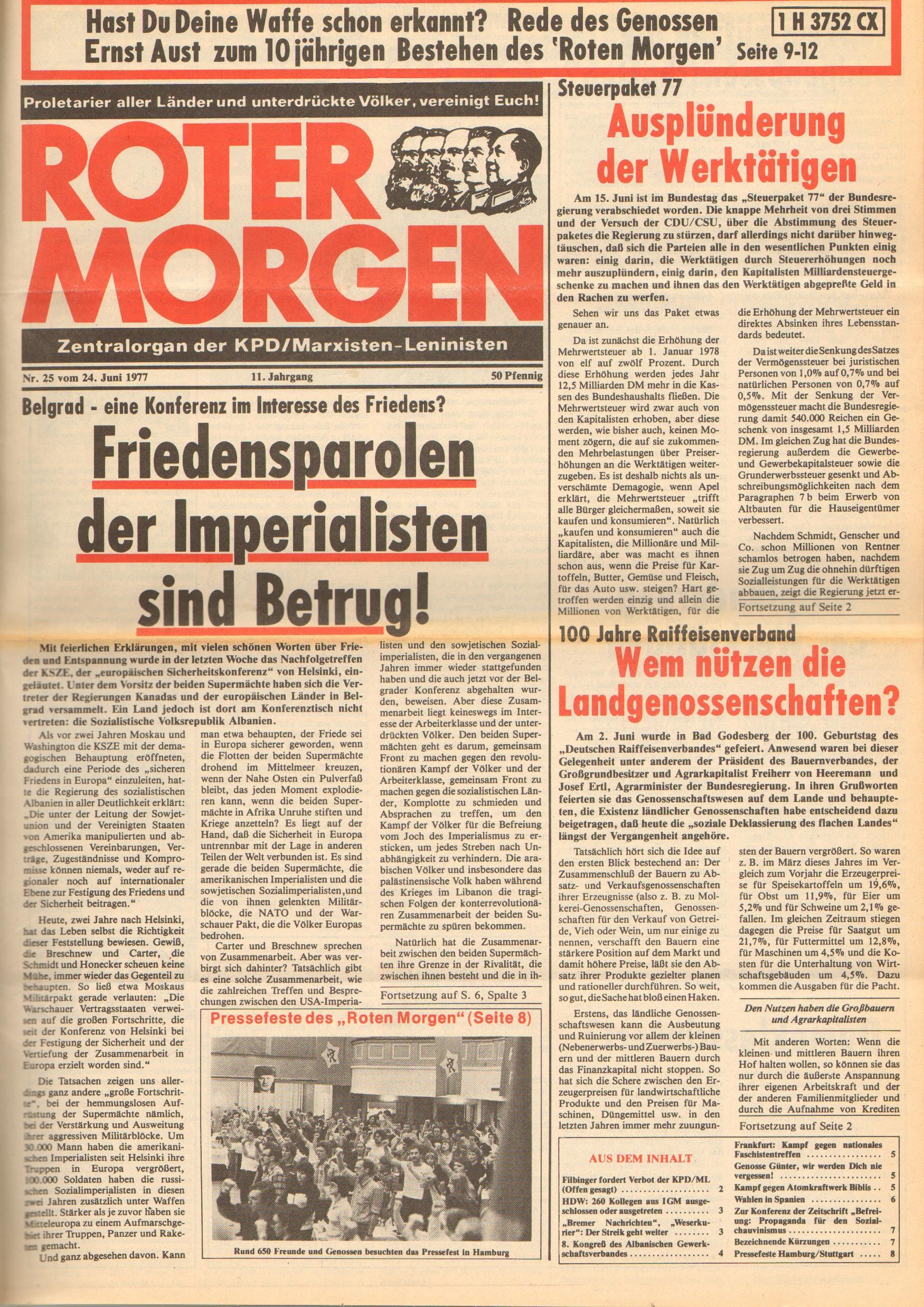 Roter Morgen, 11. Jg., 24. Juni 1977, Nr. 25, Seite 1