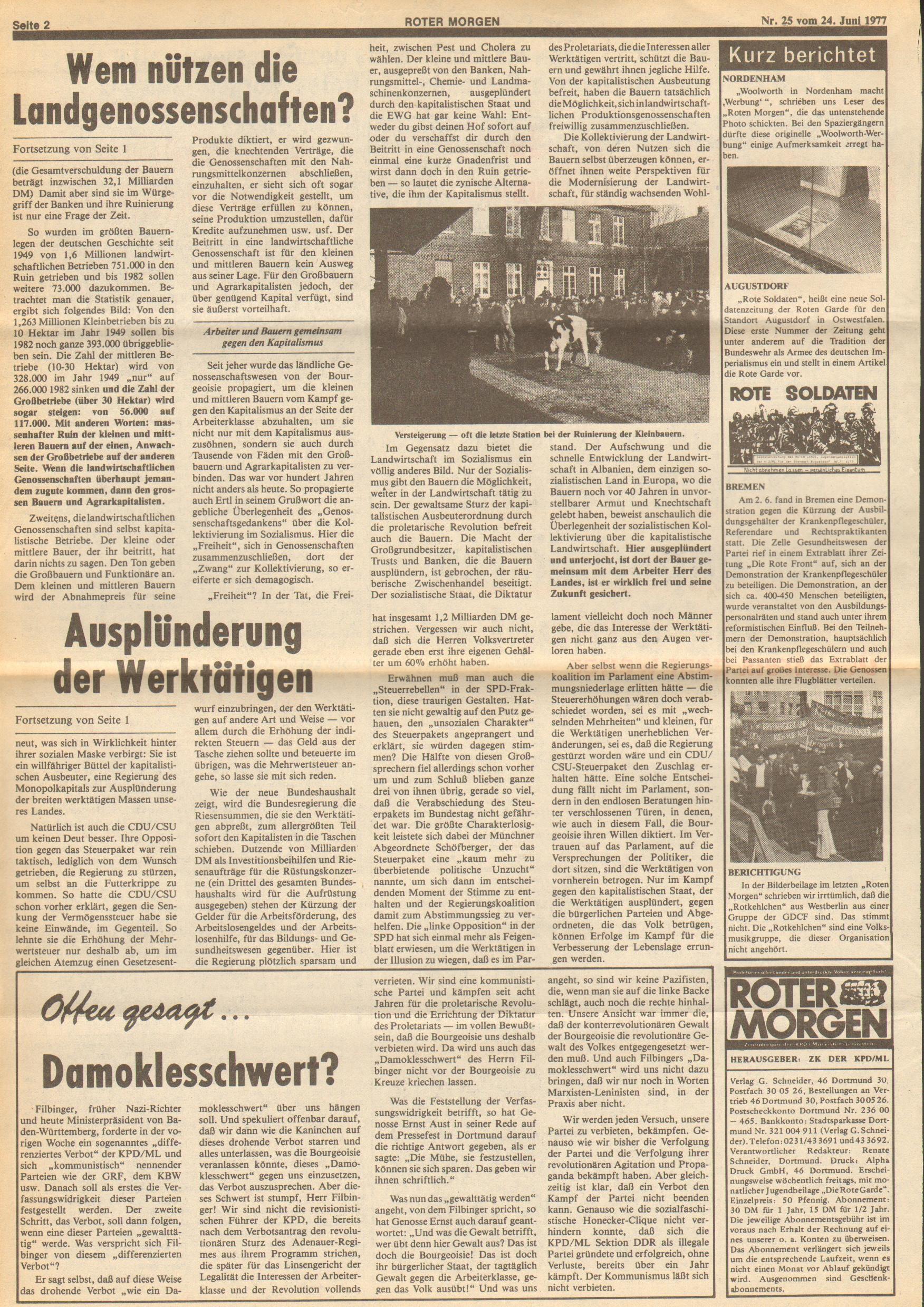 Roter Morgen, 11. Jg., 24. Juni 1977, Nr. 25, Seite 2