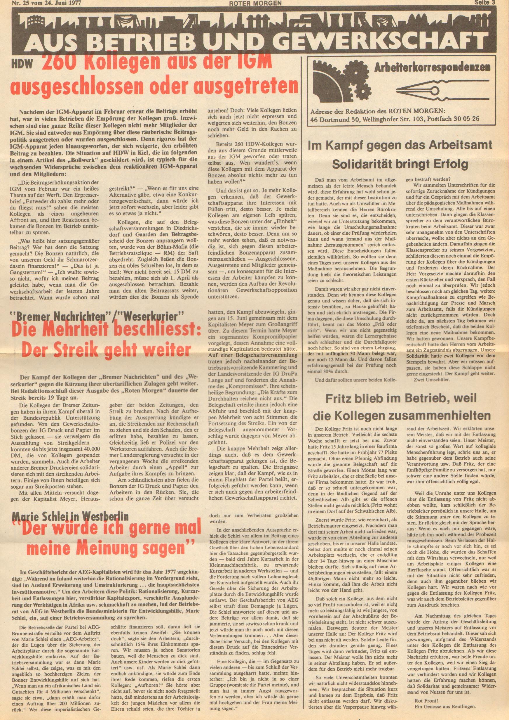Roter Morgen, 11. Jg., 24. Juni 1977, Nr. 25, Seite 3