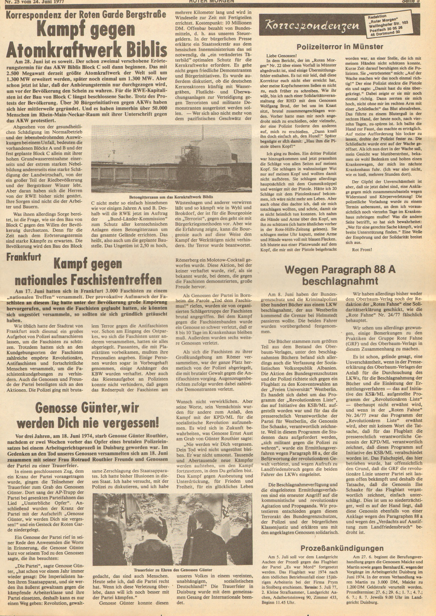 Roter Morgen, 11. Jg., 24. Juni 1977, Nr. 25, Seite 5