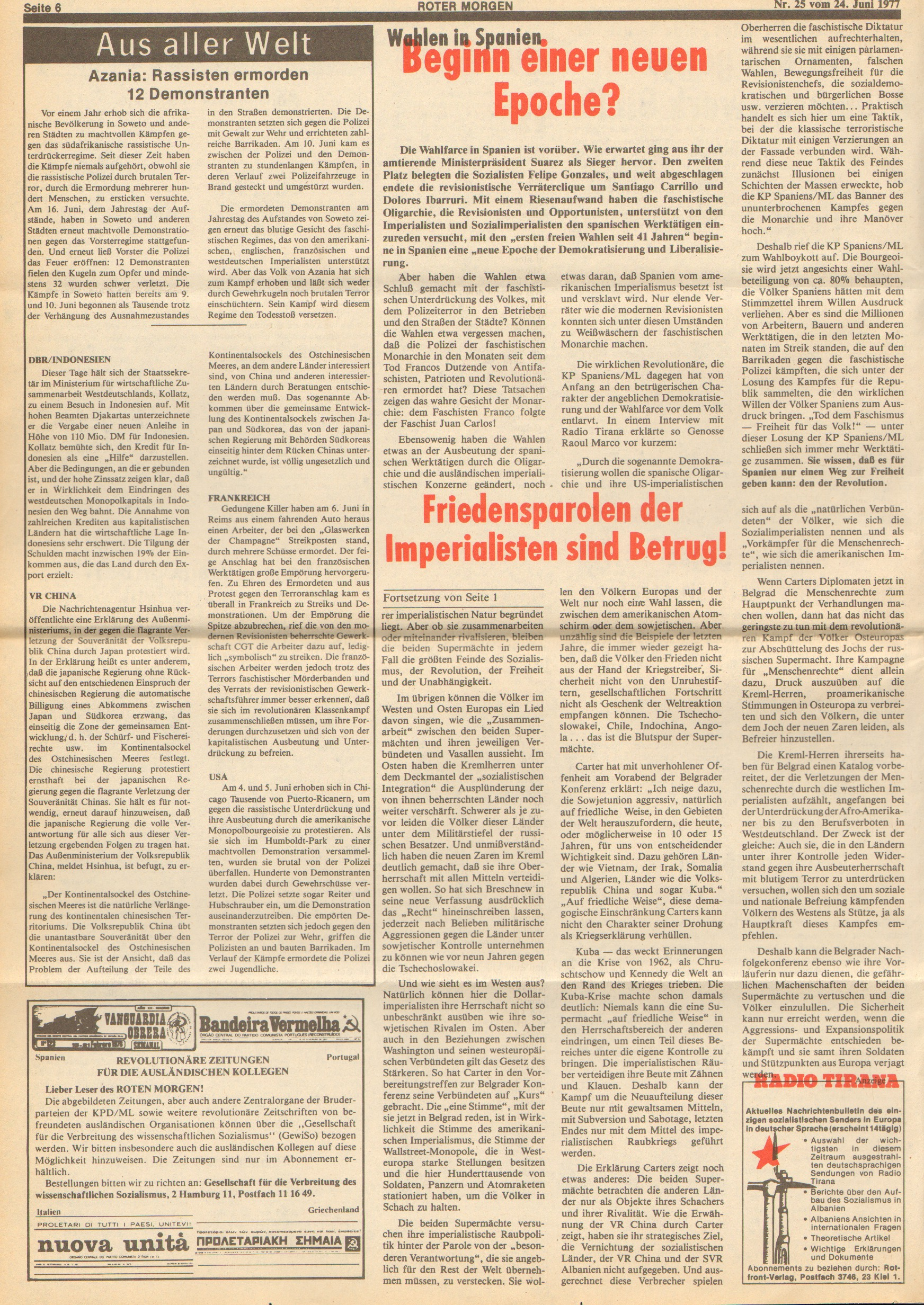 Roter Morgen, 11. Jg., 24. Juni 1977, Nr. 25, Seite 6