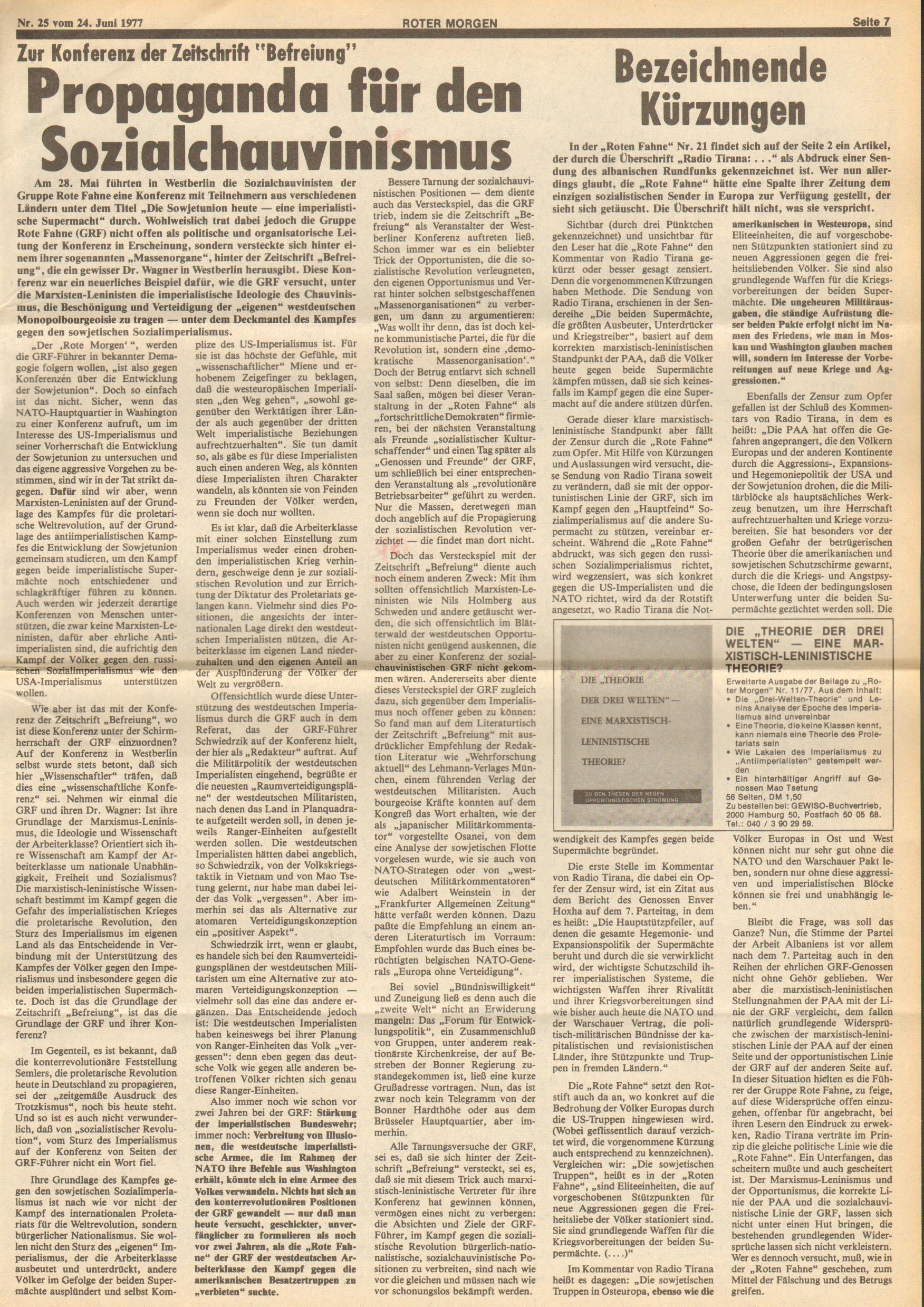 Roter Morgen, 11. Jg., 24. Juni 1977, Nr. 25, Seite 7