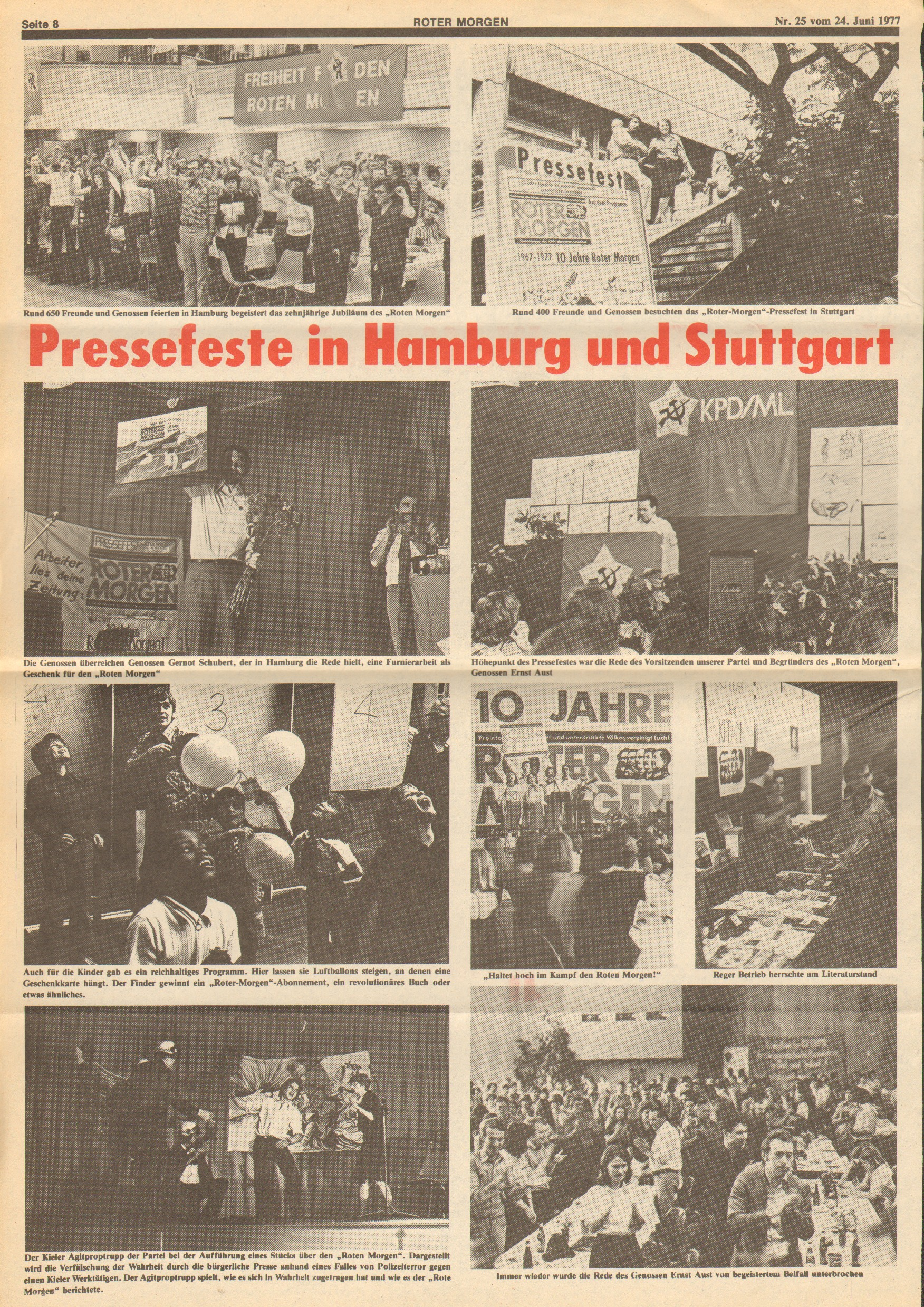 Roter Morgen, 11. Jg., 24. Juni 1977, Nr. 25, Seite 8