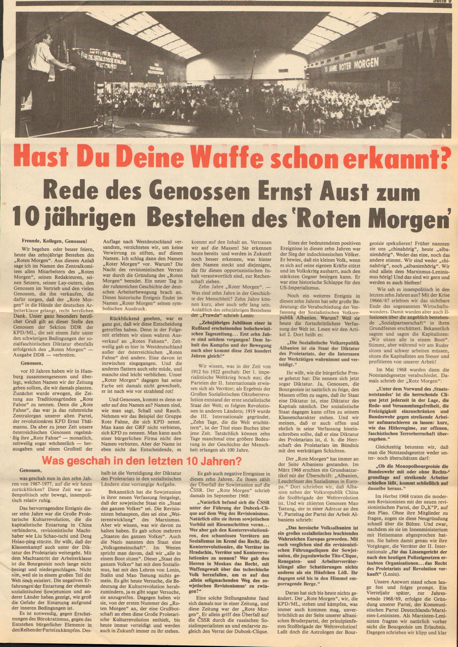 Roter Morgen, 11. Jg., 24. Juni 1977, Nr. 25, Seite 9