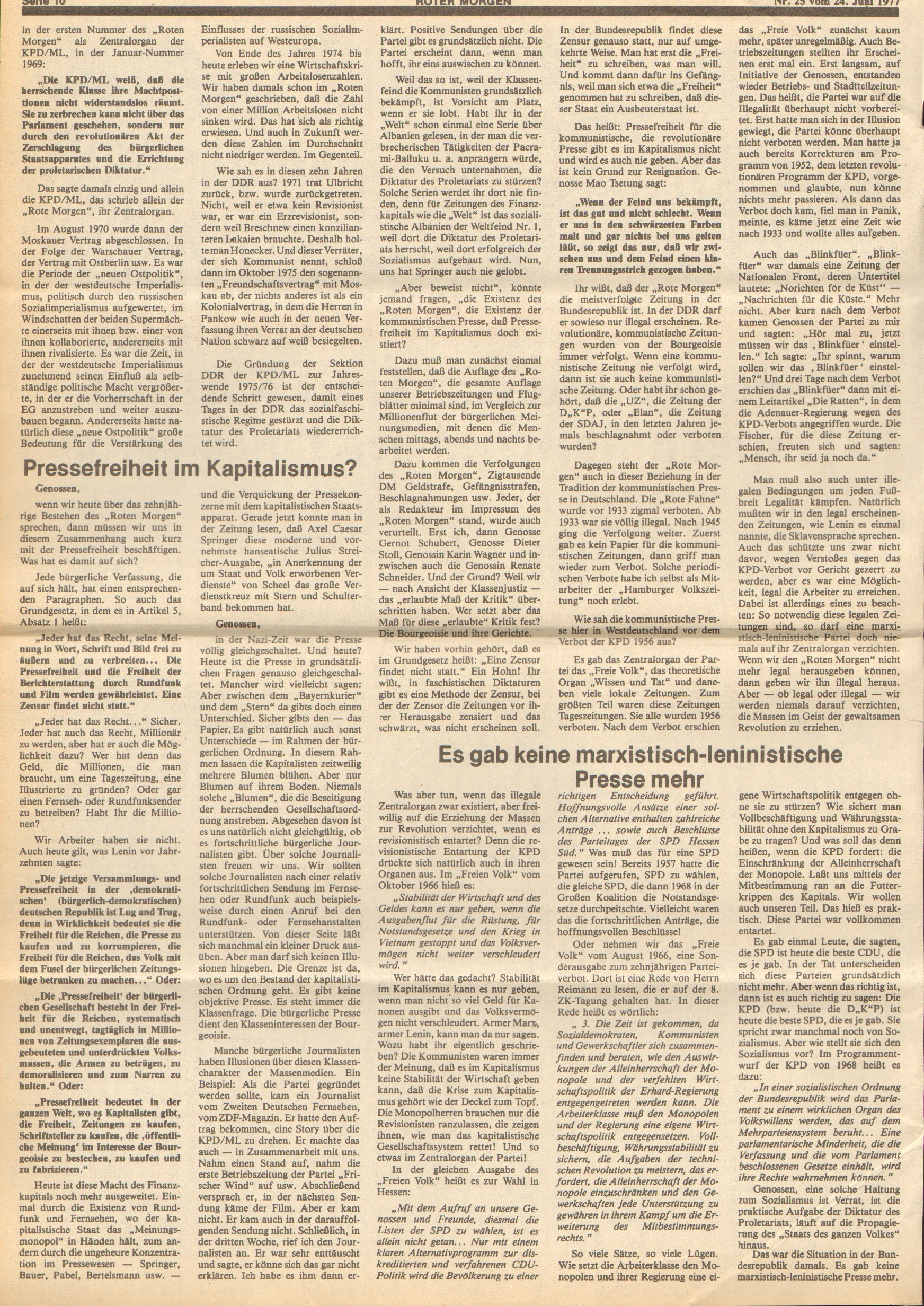 Roter Morgen, 11. Jg., 24. Juni 1977, Nr. 25, Seite 10