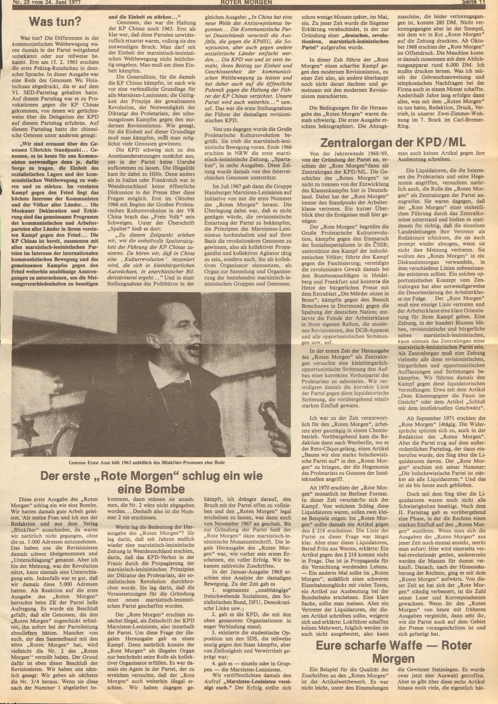 Roter Morgen, 11. Jg., 24. Juni 1977, Nr. 25, Seite 11