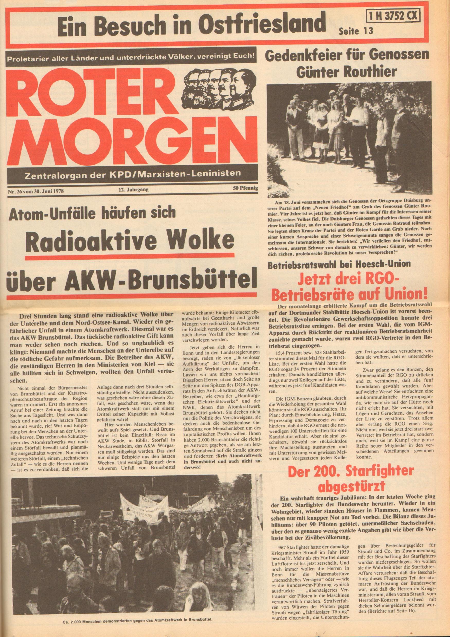 Roter Morgen, 12. Jg., 30. Juni 1978, Nr. 26, Seite 1
