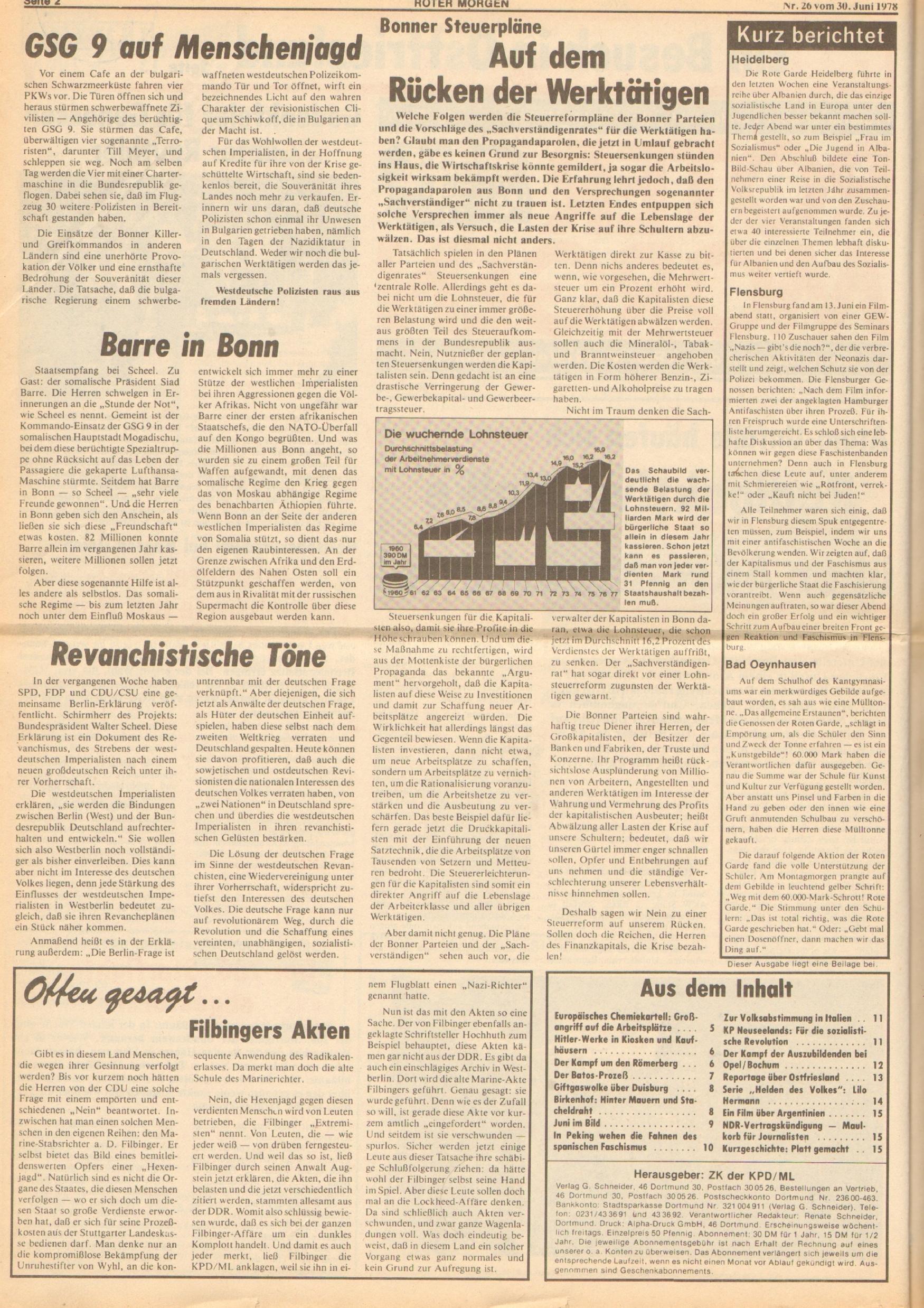 Roter Morgen, 12. Jg., 30. Juni 1978, Nr. 26, Seite 2