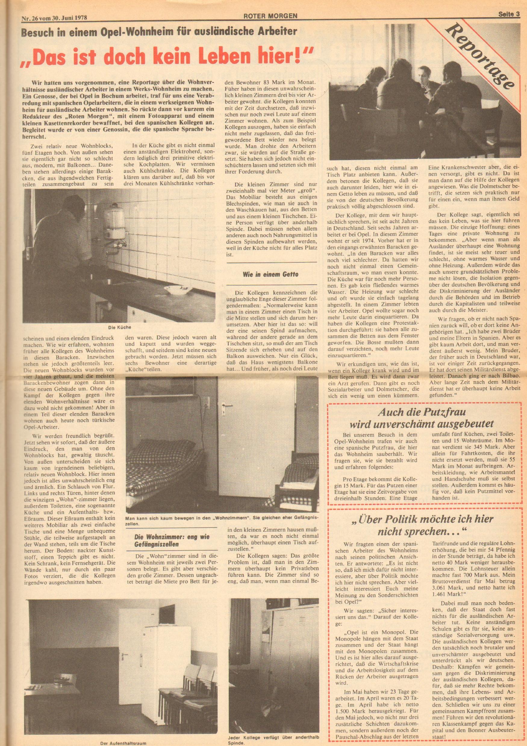 Roter Morgen, 12. Jg., 30. Juni 1978, Nr. 26, Seite 3