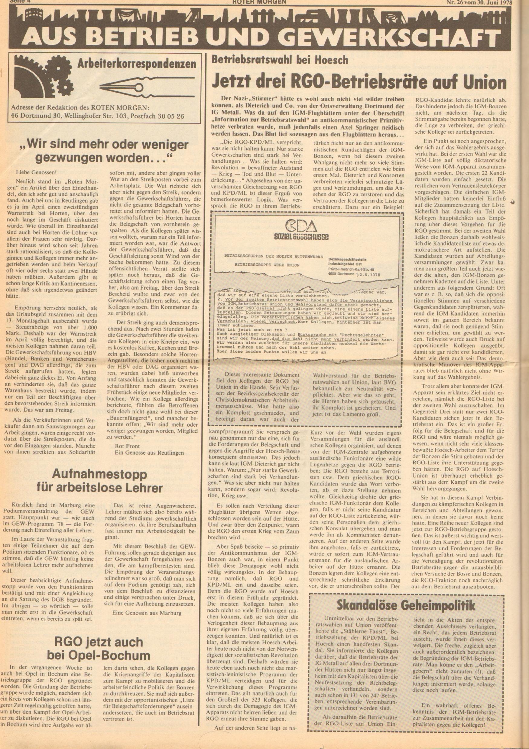 Roter Morgen, 12. Jg., 30. Juni 1978, Nr. 26, Seite 4