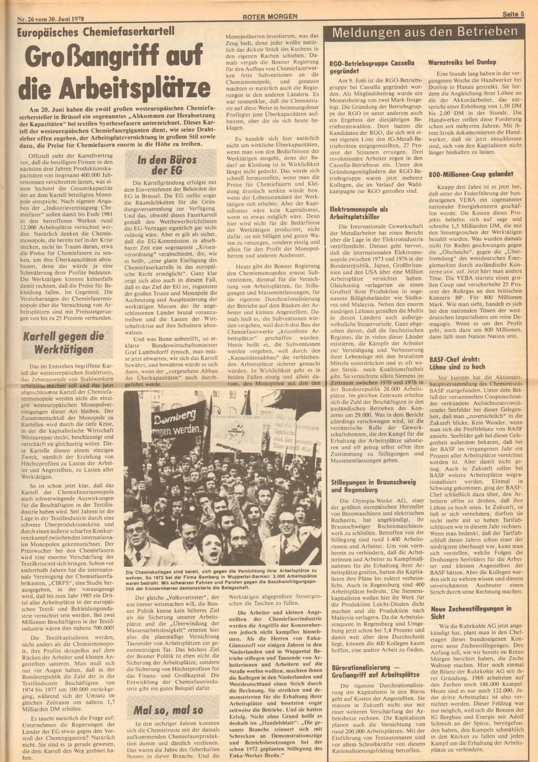 Roter Morgen, 12. Jg., 30. Juni 1978, Nr. 26, Seite 5
