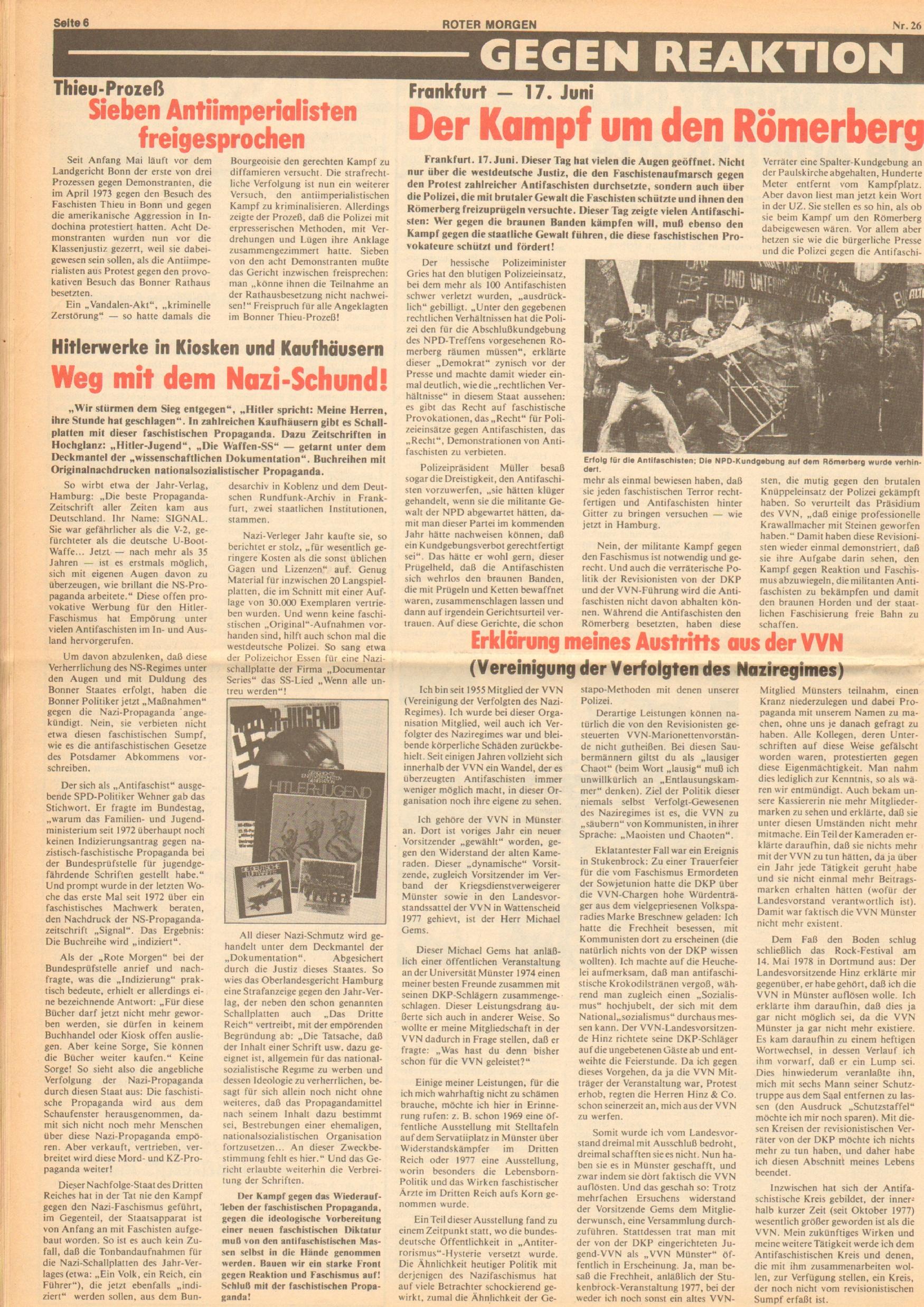 Roter Morgen, 12. Jg., 30. Juni 1978, Nr. 26, Seite 6