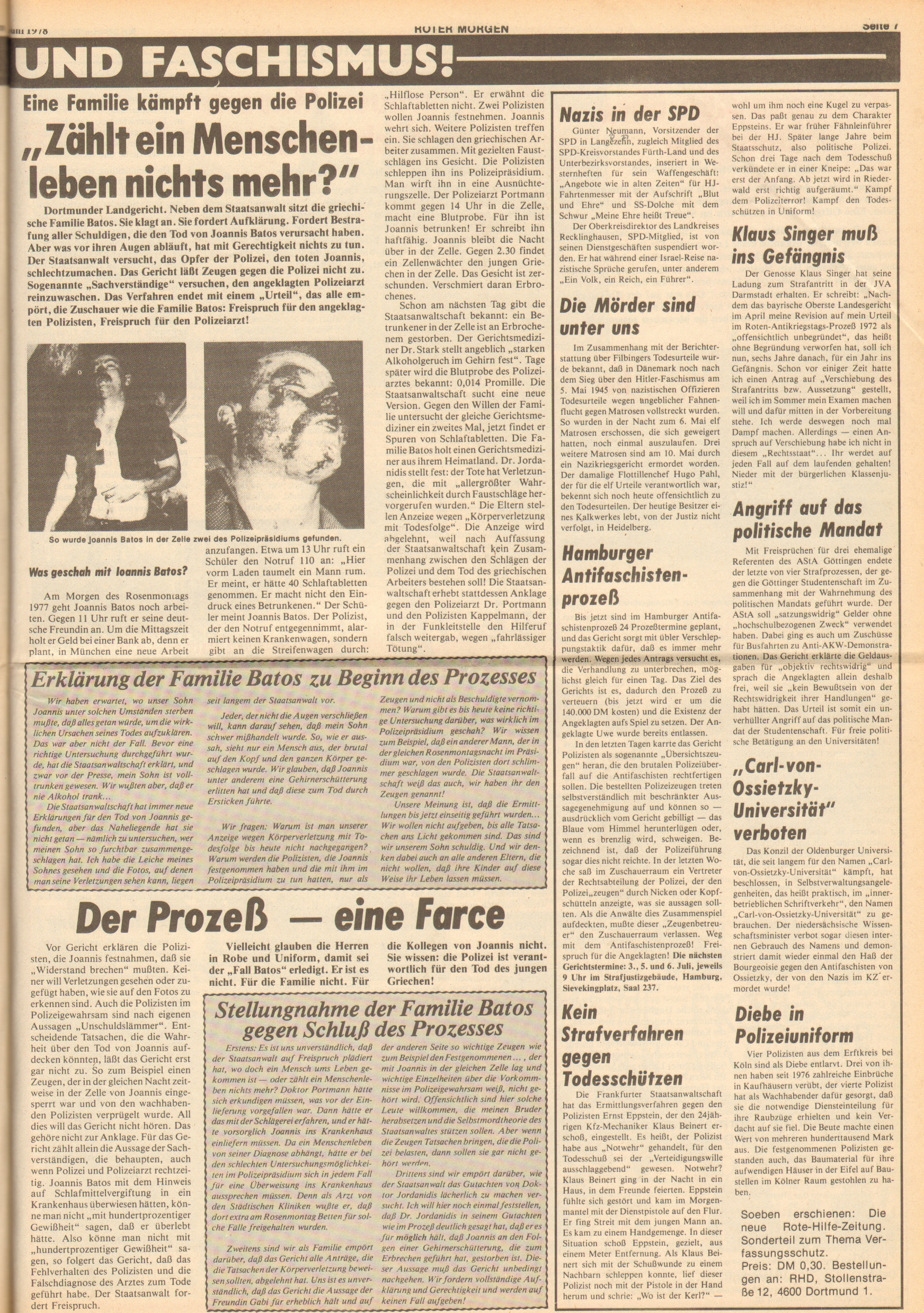 Roter Morgen, 12. Jg., 30. Juni 1978, Nr. 26, Seite 7
