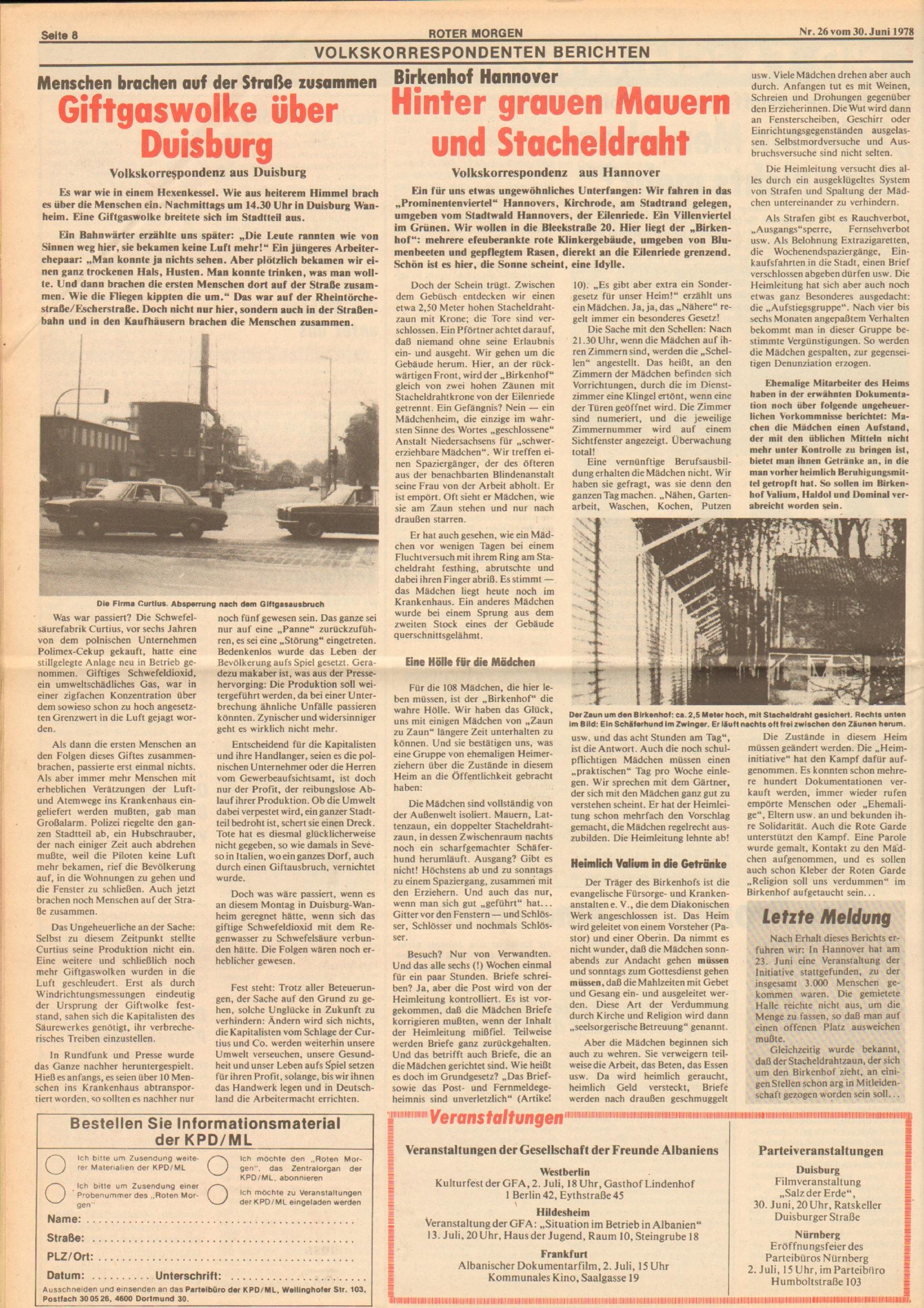 Roter Morgen, 12. Jg., 30. Juni 1978, Nr. 26, Seite 8