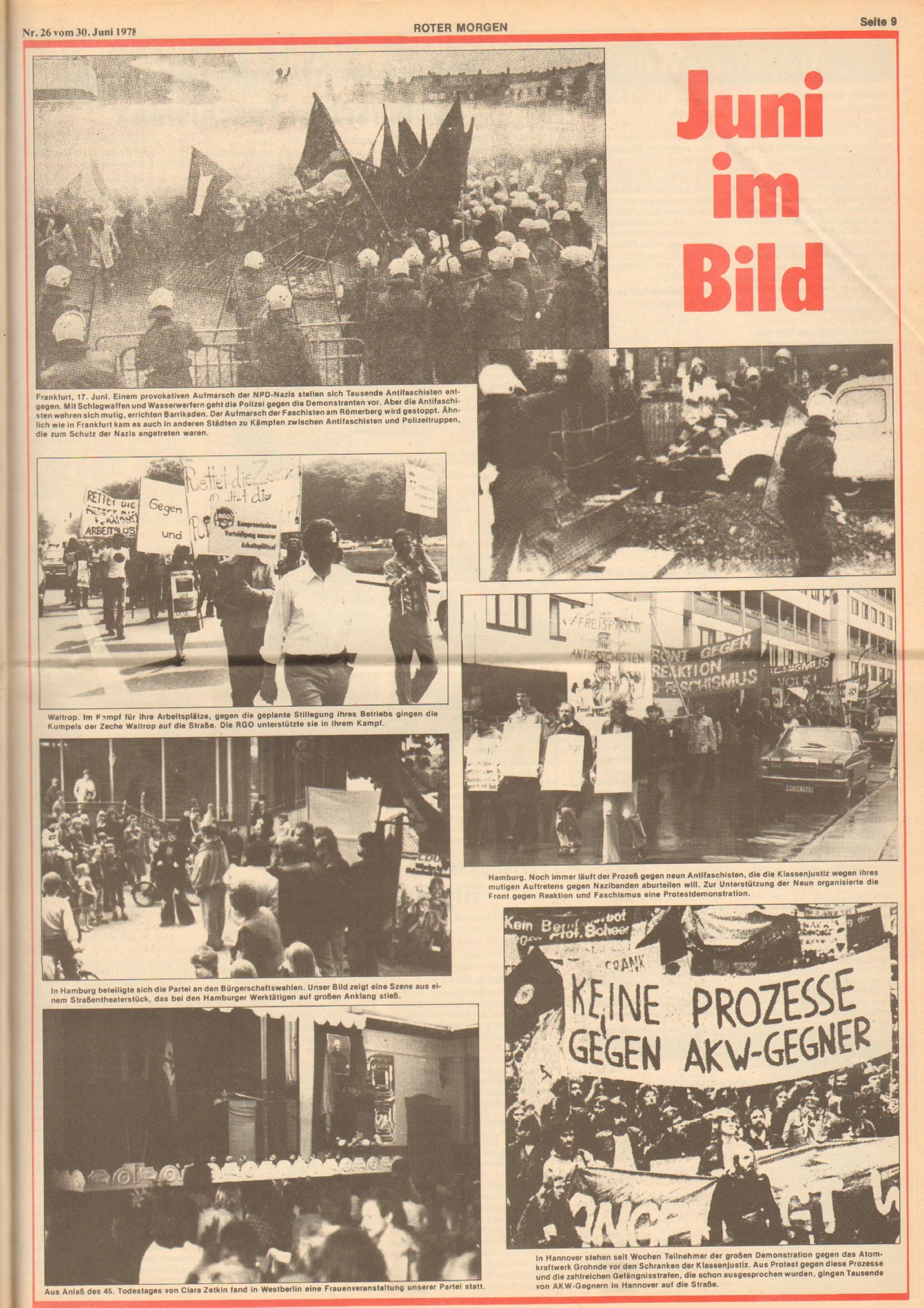 Roter Morgen, 12. Jg., 30. Juni 1978, Nr. 26, Seite 9