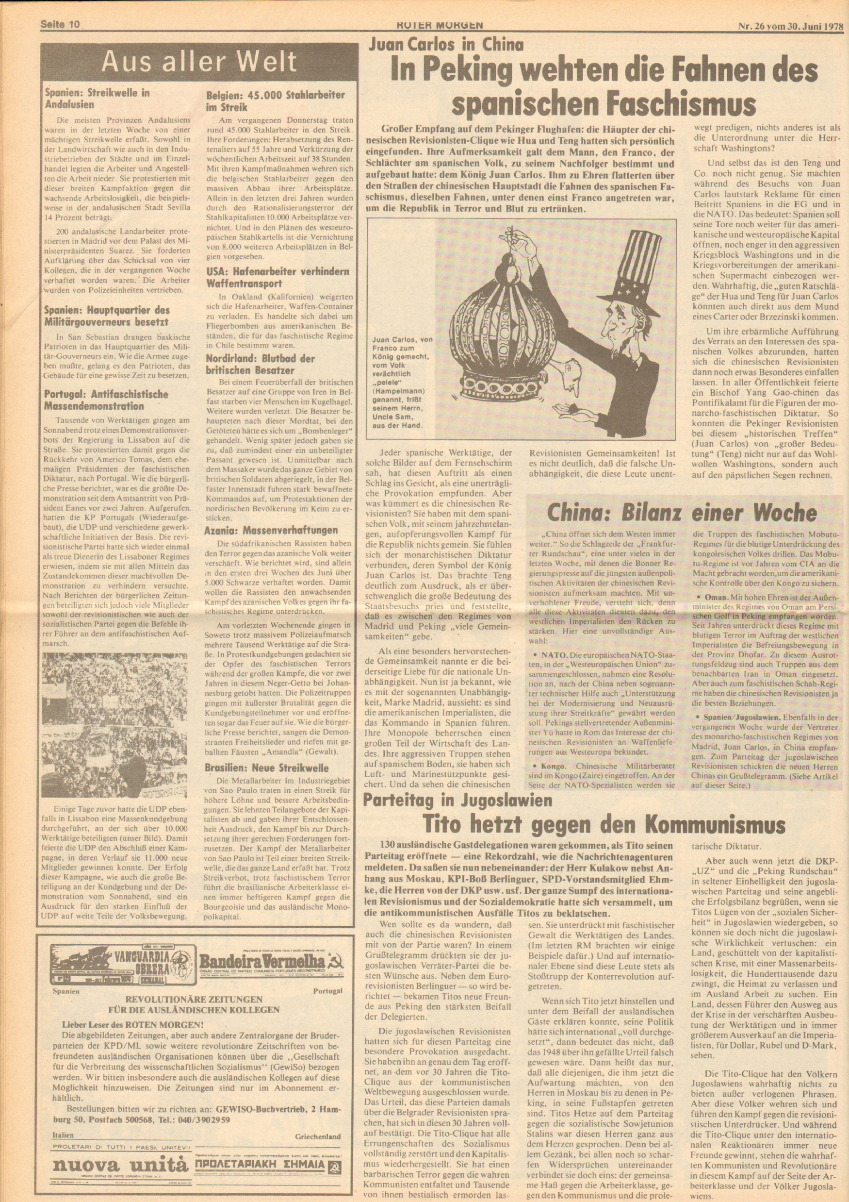 Roter Morgen, 12. Jg., 30. Juni 1978, Nr. 26, Seite 10