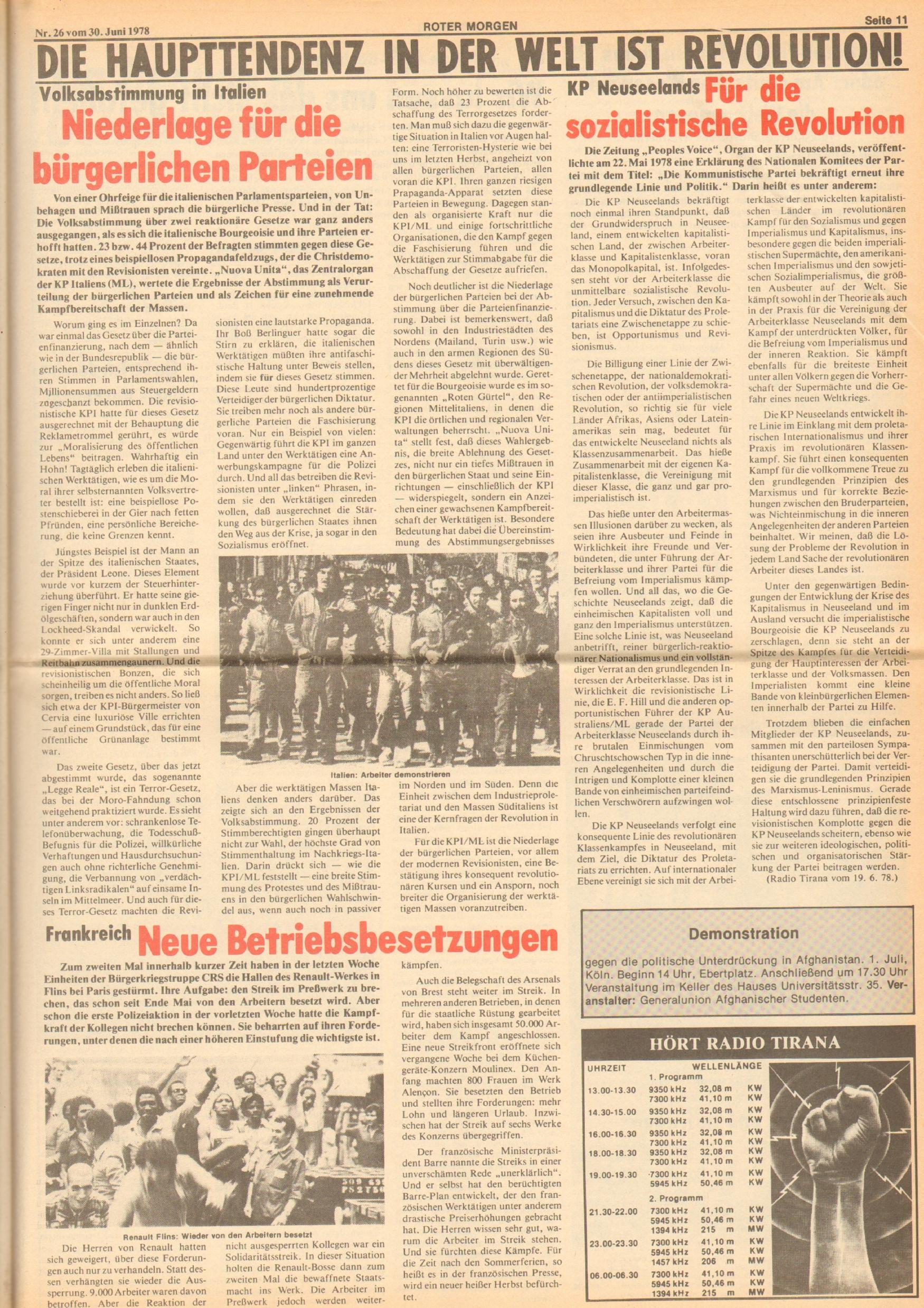 Roter Morgen, 12. Jg., 30. Juni 1978, Nr. 26, Seite 11