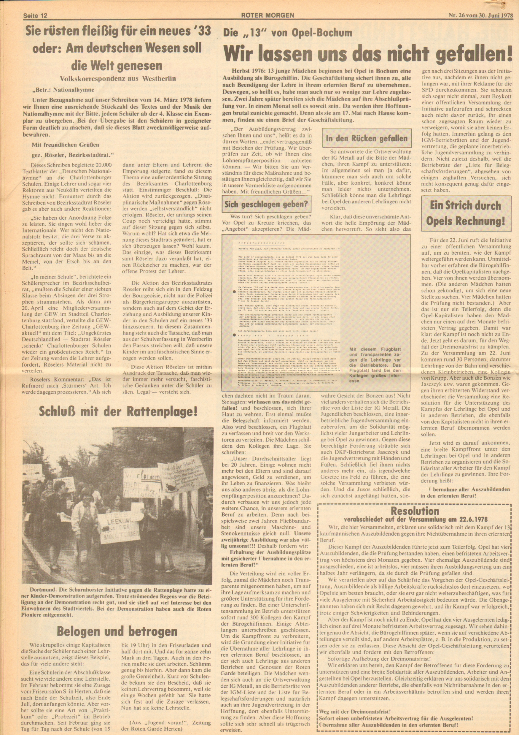 Roter Morgen, 12. Jg., 30. Juni 1978, Nr. 26, Seite 12