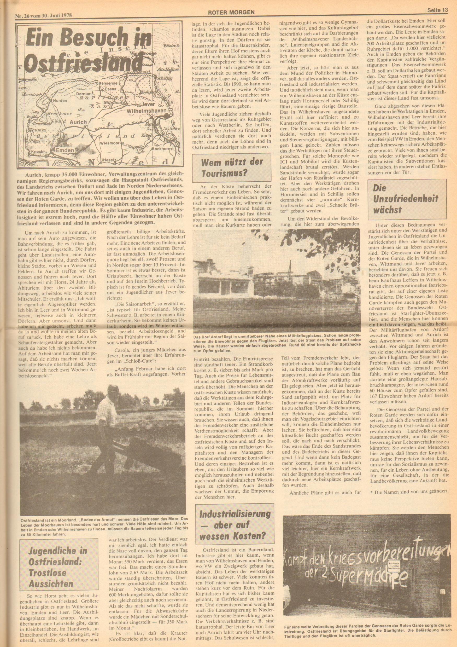 Roter Morgen, 12. Jg., 30. Juni 1978, Nr. 26, Seite 13