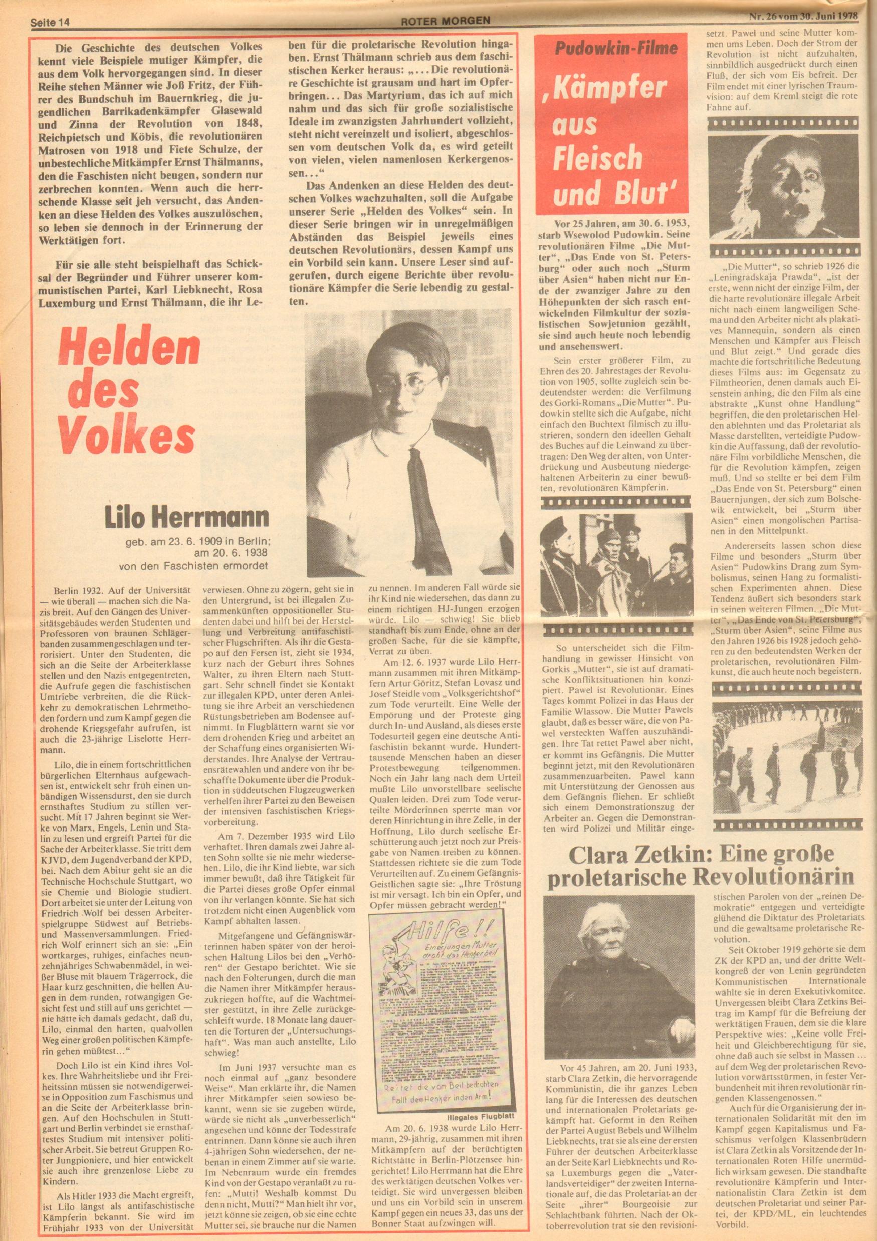 Roter Morgen, 12. Jg., 30. Juni 1978, Nr. 26, Seite 14