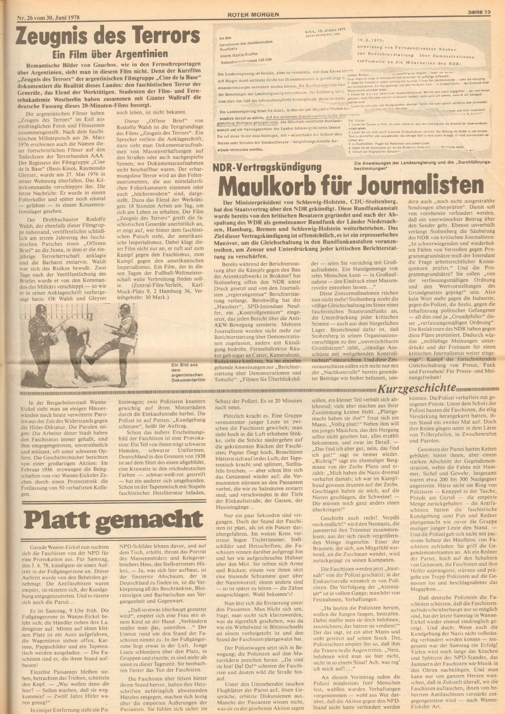 Roter Morgen, 12. Jg., 30. Juni 1978, Nr. 26, Seite 15