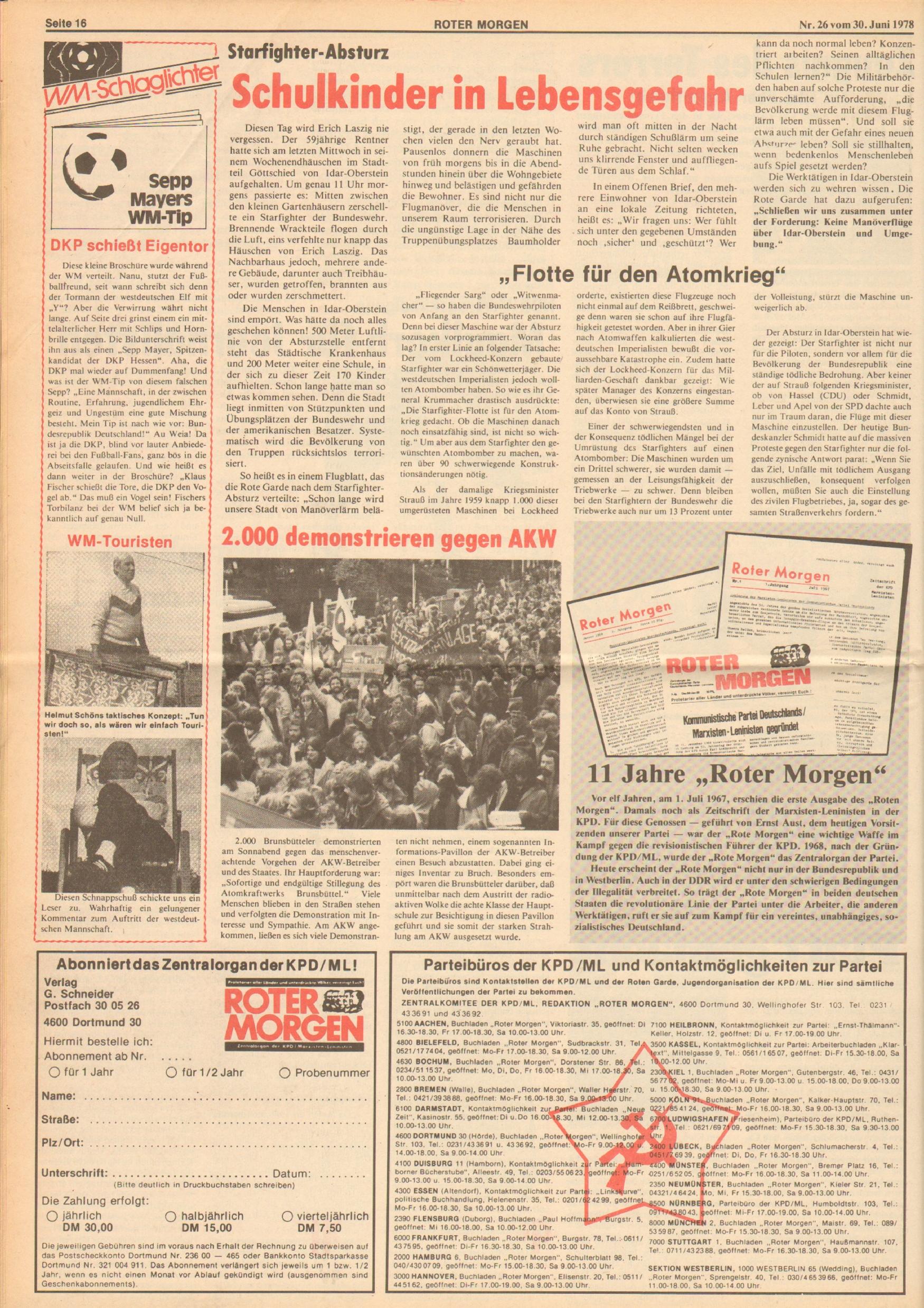 Roter Morgen, 12. Jg., 30. Juni 1978, Nr. 26, Seite 16