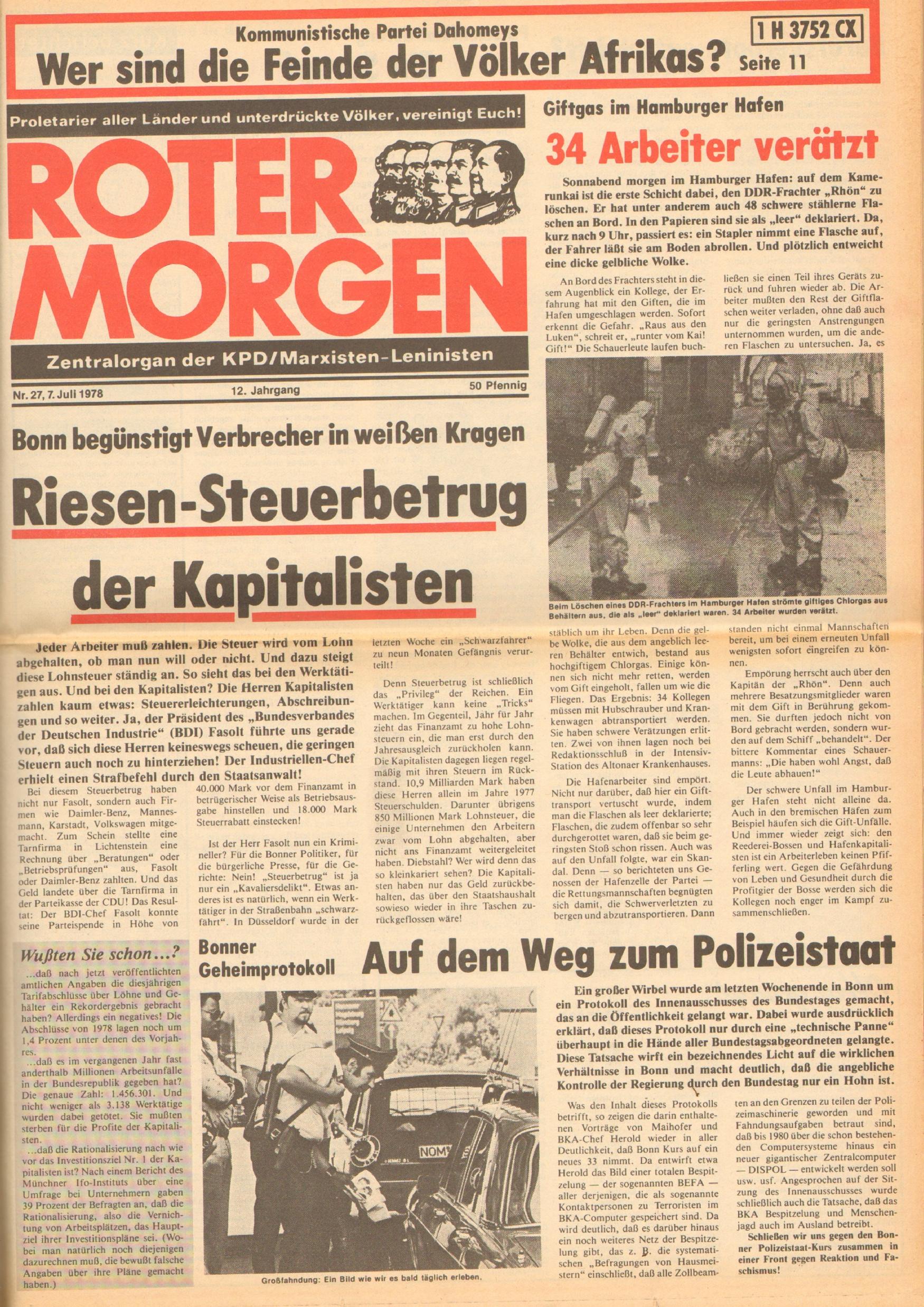 Roter Morgen, 12. Jg., 7. Juli 1978, Nr. 27, Seite 1