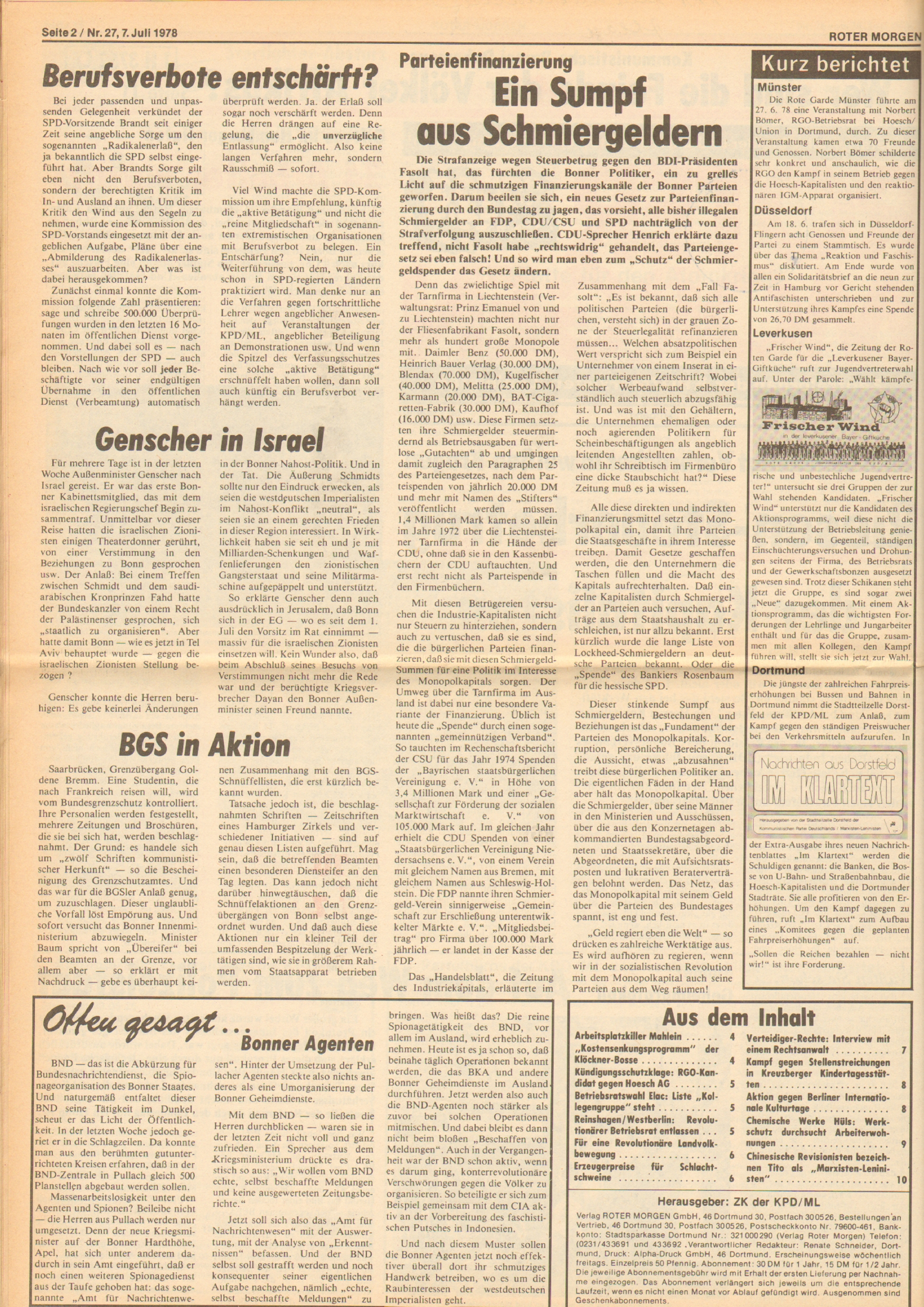 Roter Morgen, 12. Jg., 7. Juli 1978, Nr. 27, Seite 2