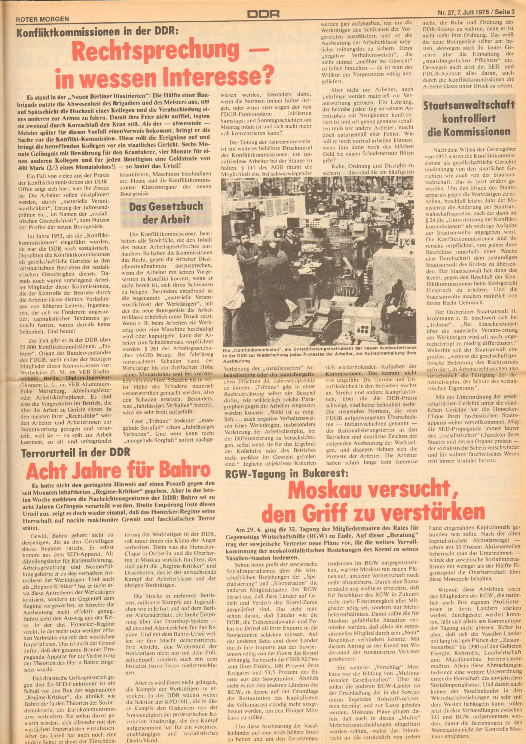 Roter Morgen, 12. Jg., 7. Juli 1978, Nr. 27, Seite 3