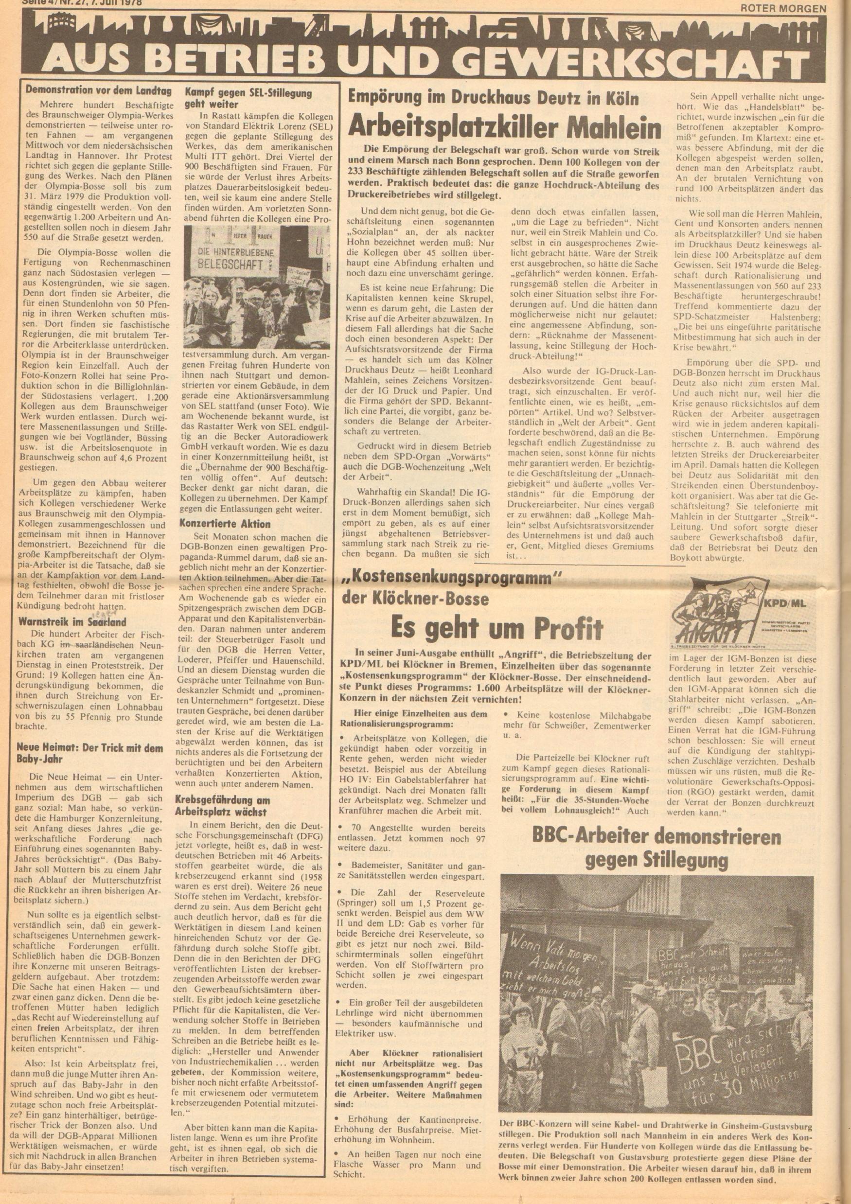 Roter Morgen, 12. Jg., 7. Juli 1978, Nr. 27, Seite 4