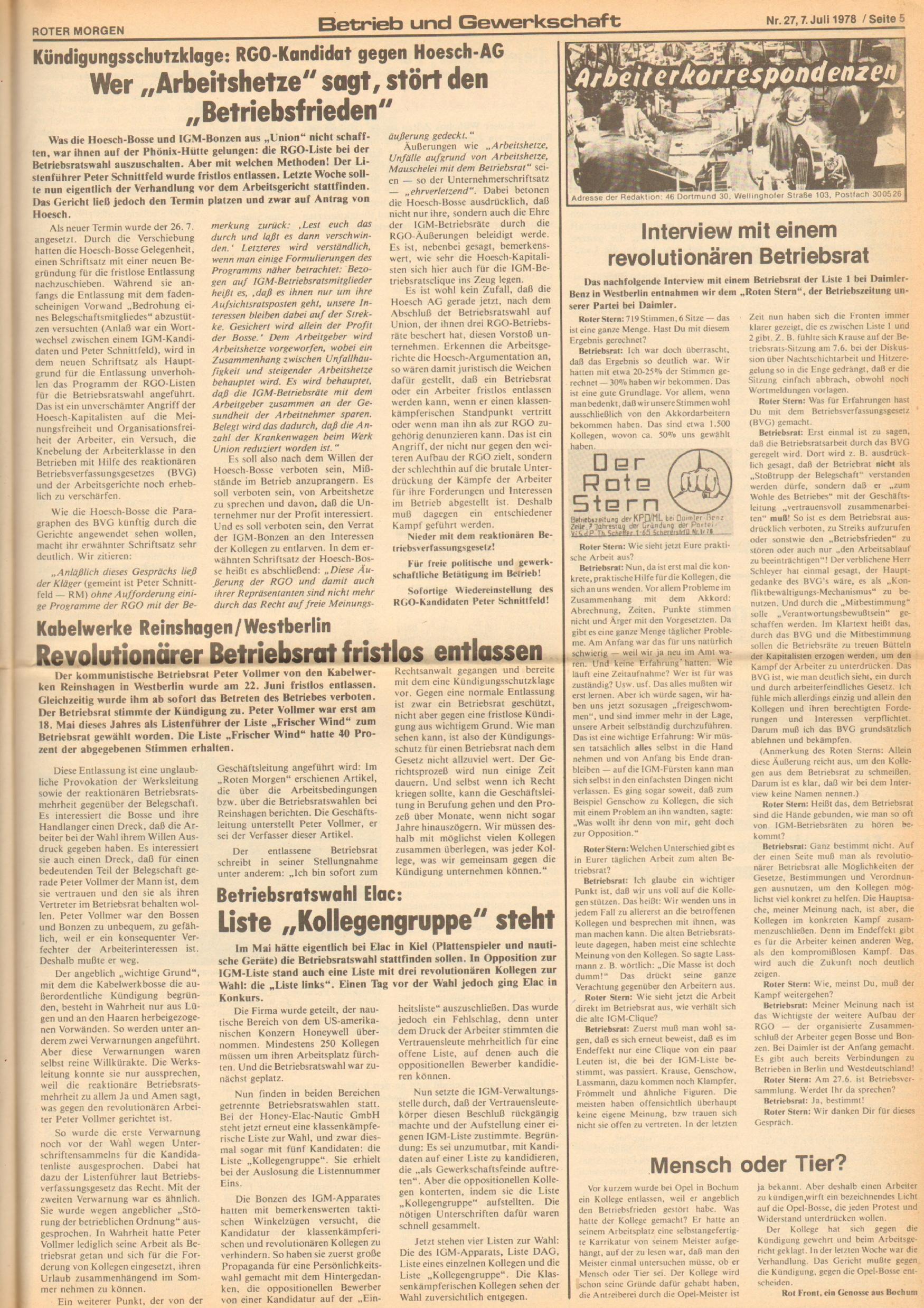 Roter Morgen, 12. Jg., 7. Juli 1978, Nr. 27, Seite 5