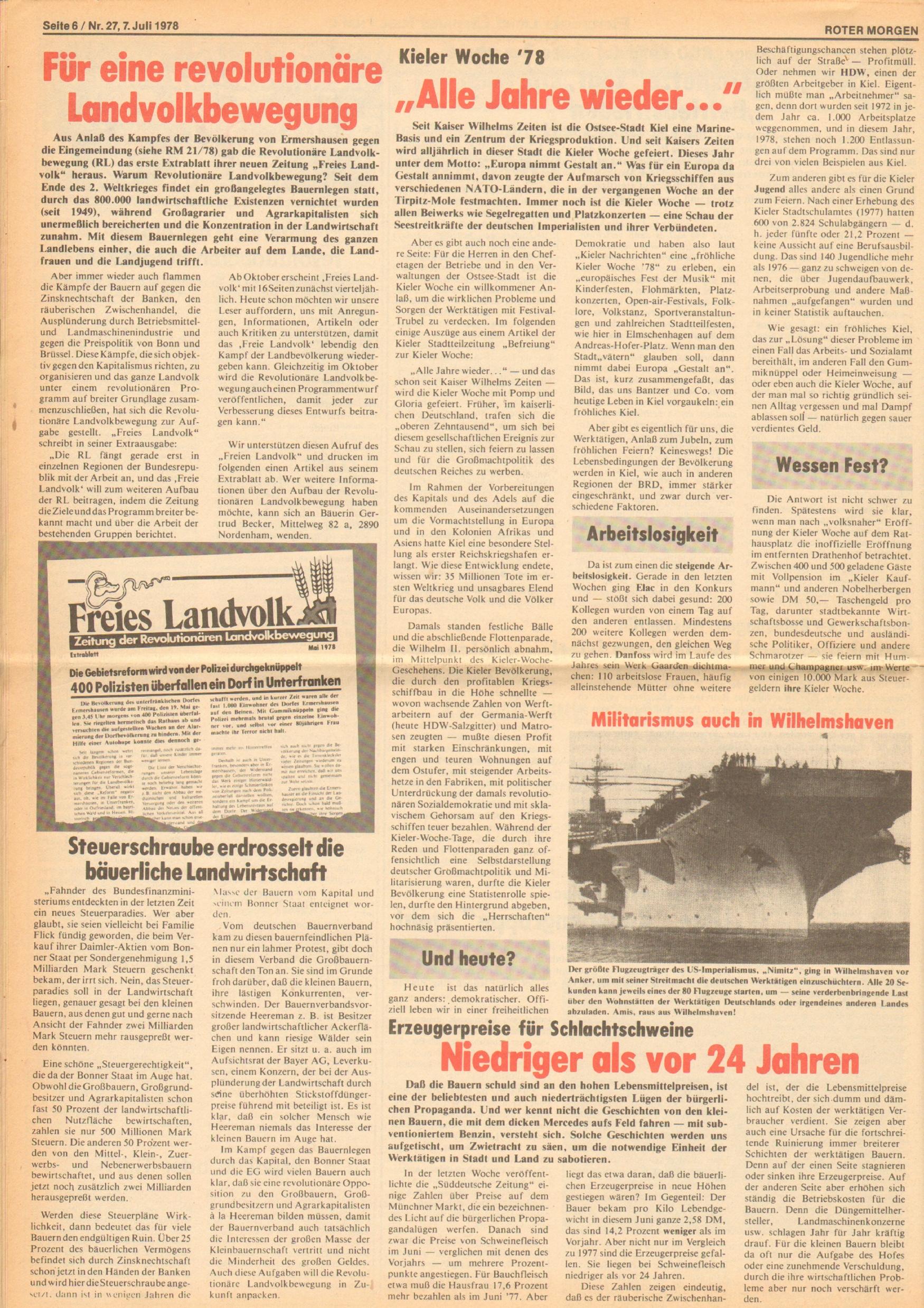 Roter Morgen, 12. Jg., 7. Juli 1978, Nr. 27, Seite 6