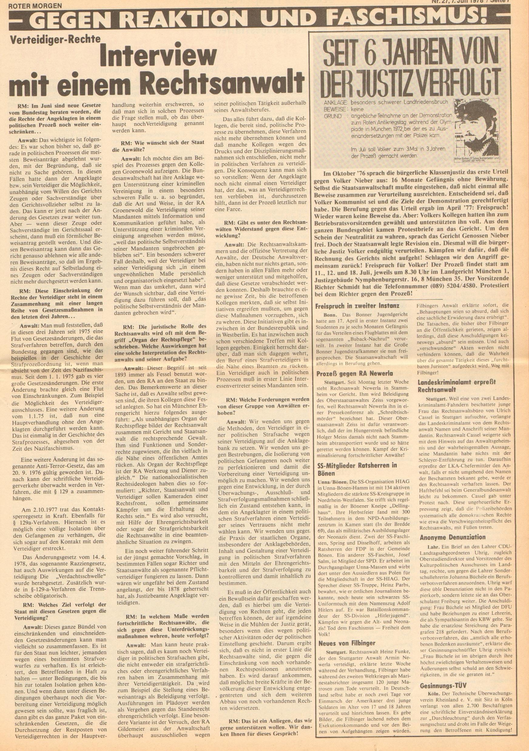 Roter Morgen, 12. Jg., 7. Juli 1978, Nr. 27, Seite 7