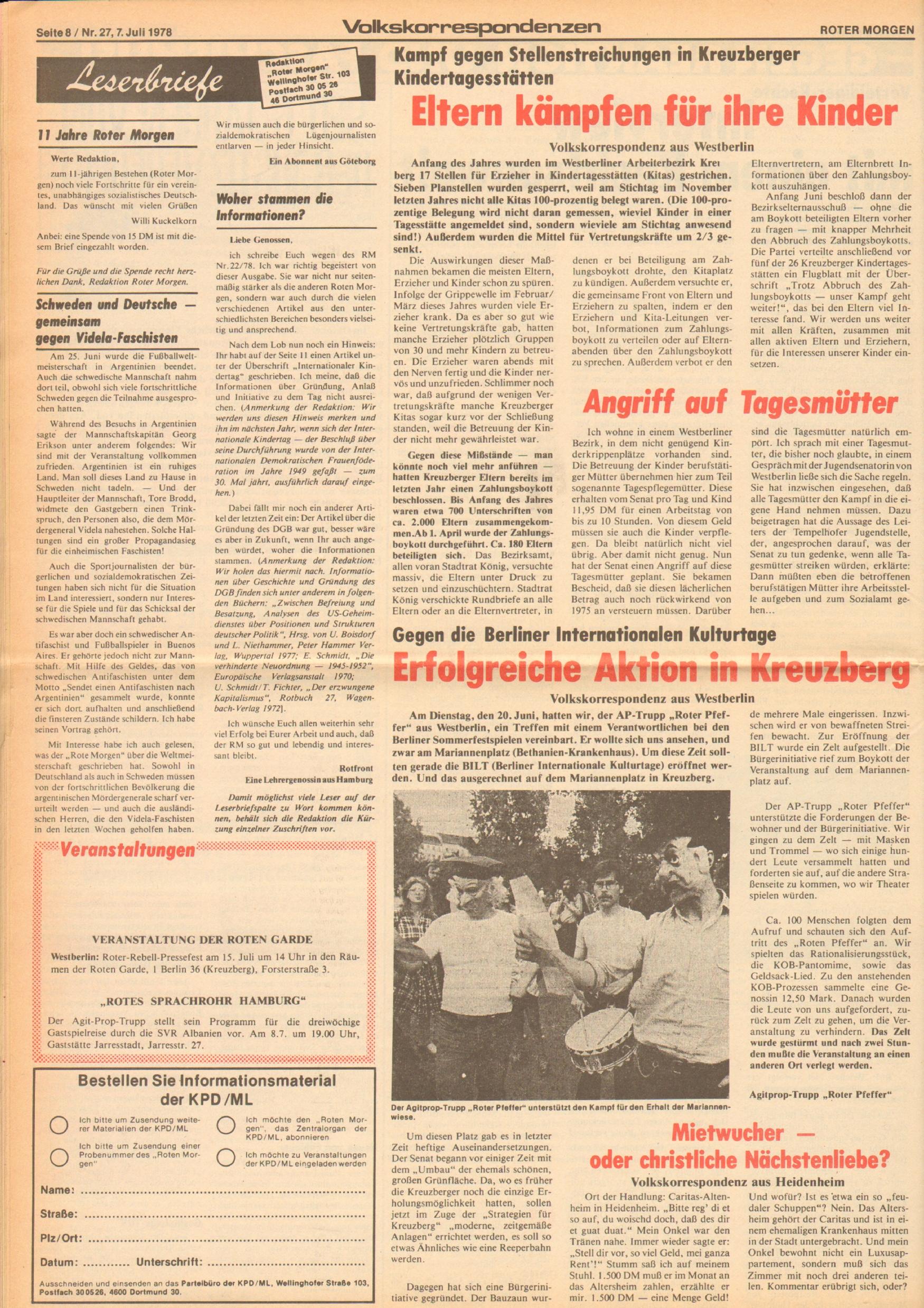 Roter Morgen, 12. Jg., 7. Juli 1978, Nr. 27, Seite 8